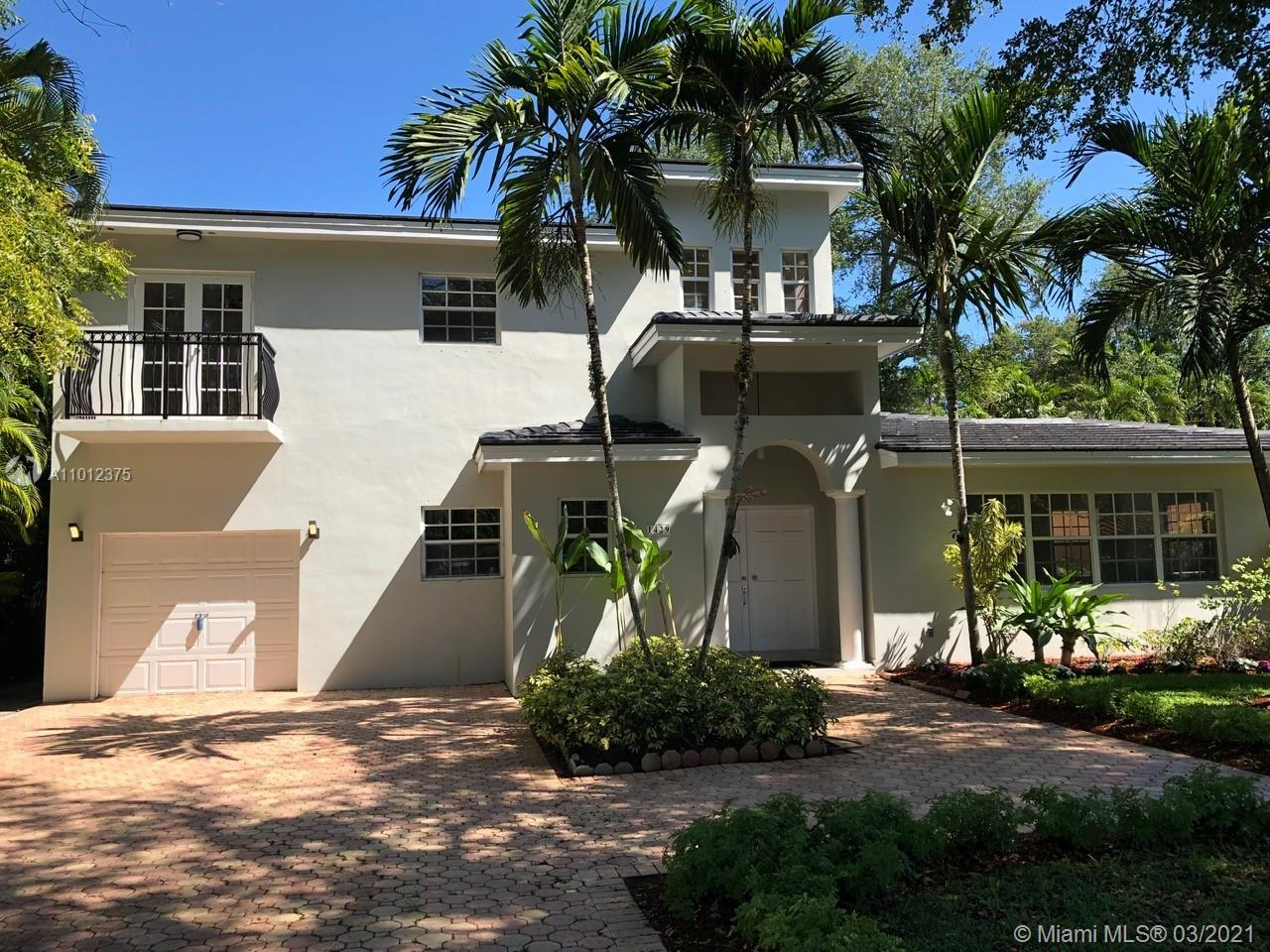 JUST UPDATED 2019, BEAUTIFUL HOME 4 BEDROOMS, 3.5 BATHS, 1 CAR GARAGE, REAL WOOD FLOORS EVERYWHERE, BRAND NEW FLAT TILE ROOF 2019, 2 STORY IN THE HEART OF CORAL GABLES AND NEAR THE UNIVERSITY OF MIAMI, LOTS OF SPACE IN THE FRONT TO PARK CARS (8), LARGE KITCHEN WITH CALACATTA QUARTZ COUNTER-TOPS, HUGE LIVING ROOM WITH LOTS OF WINDOWS, SPLIT PLAN, MASTER BEDROOM ON THE SECOND FLOOR WITH LARGE WALK-IN CLOSET AND BALCONY, OTHER 3 BEDROOMS DOWNSTAIRS, SPACE FOR POOL (PLANS ATTACHED); HOUSE IS RENTED UNTIL 7/31/2021.