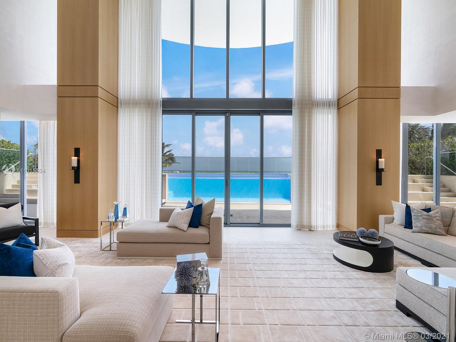 The Beach House at Regalia Sunny Isles is a lavish oceanfront residence at the scale of a private estate home, with all the conveniences of an ultra-luxury condominium. It occupies two full floors, at a whopping 17,015 sq. ft, not including the expansive wrap-around terraces. The sheer scale of the Beach House accommodates a variety of living and entertainment areas, from the double-height great room that opens onto the glass-walled oceanfront pool and hot tub, to the adjoining summer kitchen, the quartz and bronze cocktail bar, private spa with hammam steam room, chef's kitchen with Wolf & Subzero appliances, and game room. The more private areas of the 6-bedroom home are just as special, with a guest living room, study, and massive master bathroom lined in floor-to-ceiling white onyx.