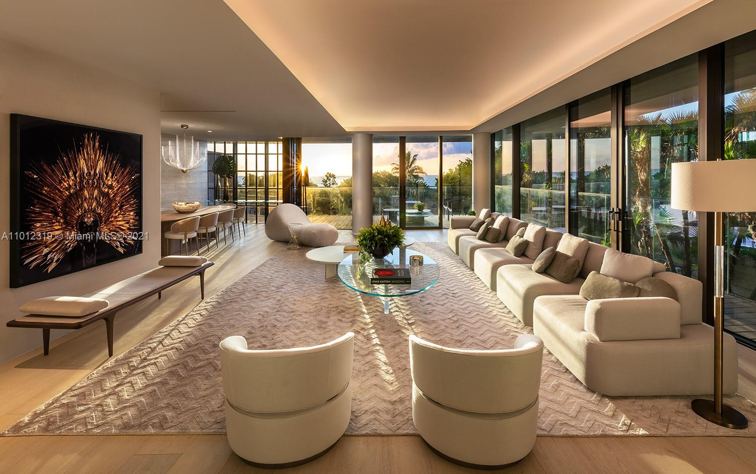 Residence 201 lives like a beach home within ARTE. This two-floor flow through grand estate-sized beach villa boasts gracious living areas and expansive deep terraces with direct ocean and sunset views. Residence 201 features private elevator finger recognition entry, two gourmet chef-style kitchens with gas range, private spiral, stair case leading directly to Spa amenities and beach. Arte is a boutique collection of 16 oceanfront residences by Citterio & Viel in collaboration with Kobi Karp. Full service building with rooftop tennis court, outdoor and heated indoor pools, children's play room and direct beach access. Please note photography represents model unit 202. Residence offers 6982 SF interior with expansive terraces offering 1488 SF Ex. This residence is shown By Appointment Only