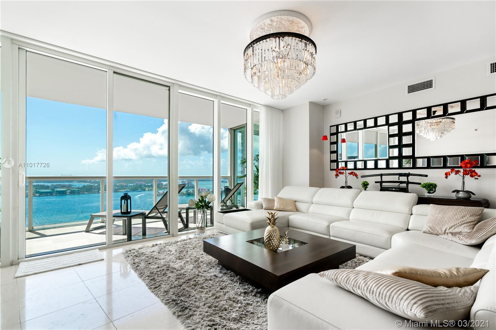 Situated on the 26th floor of ICON South Beach, this 2158 sf apartment will awe. Large balcony gives stunning unobstructed skyline, bay and ocean views. Philippe Starck Package, Beautiful, limestone and wood flooring, Delacassa cabinets, Miele & Subzero appliances, Duravit fixtures, custom closets, Jacuzzi spa tub and more. Conveniently located within walking distance to the marina, markets, award winning restaurants and the beach.