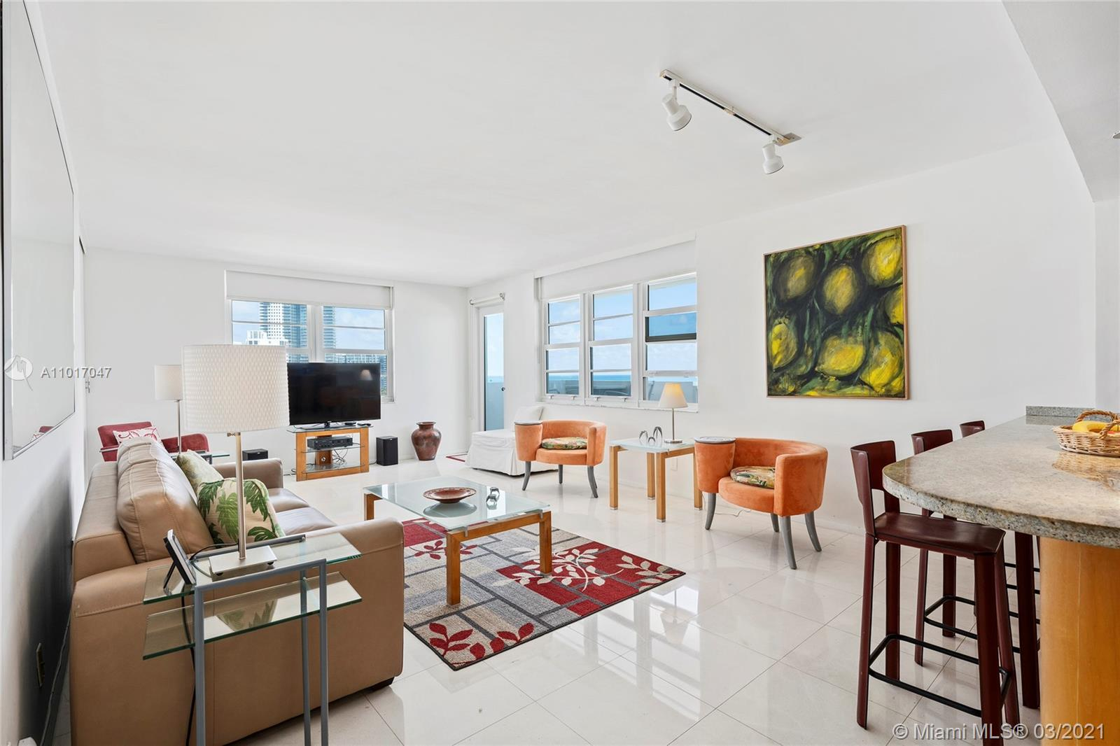 Direct oceanfront 2BD / 2 BA northeast corner with jaw-dropping ocean views. Open kitchen, sliding panel separating the middle bedroom from the living area, and unique lock-out set up that allows you to divide into two units. The Decoplage allows 30-day rentals and offers great amenities. Located across the street from Ritz Carlton and steps from Lincoln Road, Ocean drive and a plethora of shops and restaurants. Expansive balcony with some of the best views in town. Includes TWO assigned self-park parking spaces.
