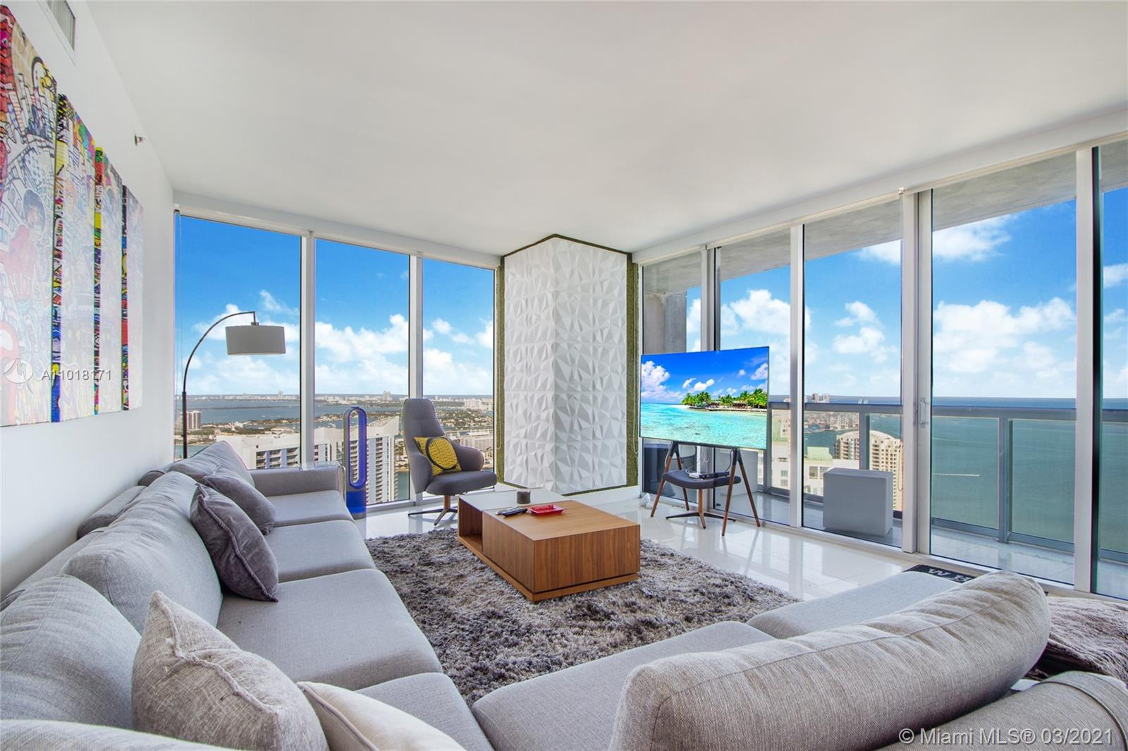 VIEWS FOR DAYS! This 3 bedroom 2.5 bath corner unit is located in the prestigious tower 1 at ICON Brickell. Features include spectacular views of the Biscayne Bay, The Ocean, Downtown Miami, & the Miami River from the 51st floor. The interior has porcelain flooring throughout, LED lighting, SubZero & Wolfe appliances, huge balcony, floor to ceiling glass. Pet-friendly for both owners & renters. Tower 1 is loaded with amenities including an Olympic-length pool overlooking Biscayne Bay, an outdoor fireplace, an exceptional spa, & a lushly landscaped outdoor living room, Icon Brickell lives up to its name. Includes 1 assigned parking space an option to lease a second valet spot.