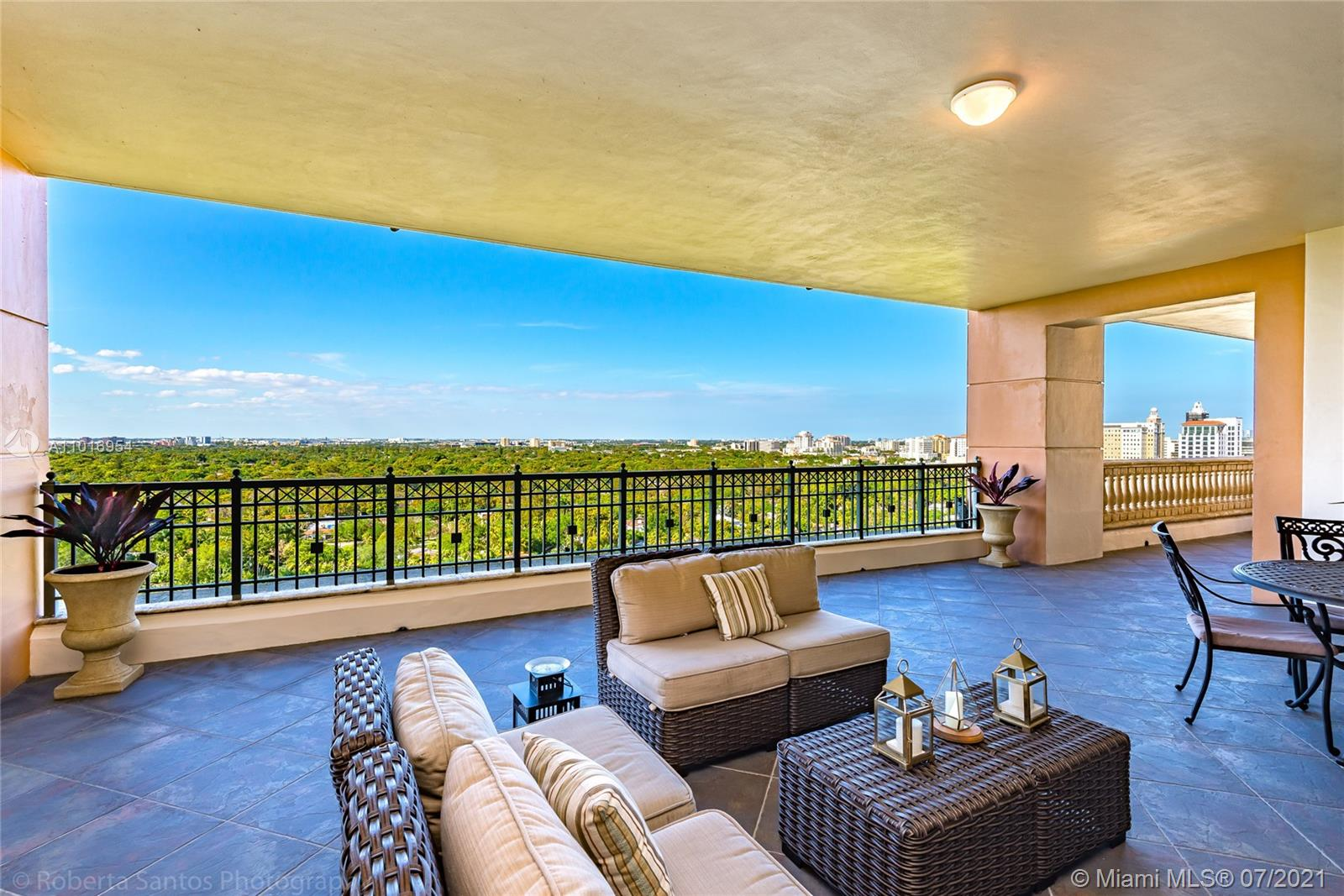 """A unique and rare opportunity to purchase a signature property in the exclusive and sought-after Gables on the Green in Coral Gables, the """"City Beautiful"""". This one-of-a-kind Penthouse has a privileged location with soaring views directly over the Granada Golf Course and extending to the stunning Miami Skyline. This very private luxury Highrise has only 17 stories and its enviable location is minutes away from fine dining, shopping, and beautiful Miracle Mile. This gorgeous home has 4 bedrooms and 4 and 1/2 bathrooms with a terrific floorplan of 3,513 sq ft of interior living space with high ceilings and limestone floors throughout. The generous main living area opens to a magnificent covered outdoor terrace ideal for entertaining with views that will leave you breathless."""