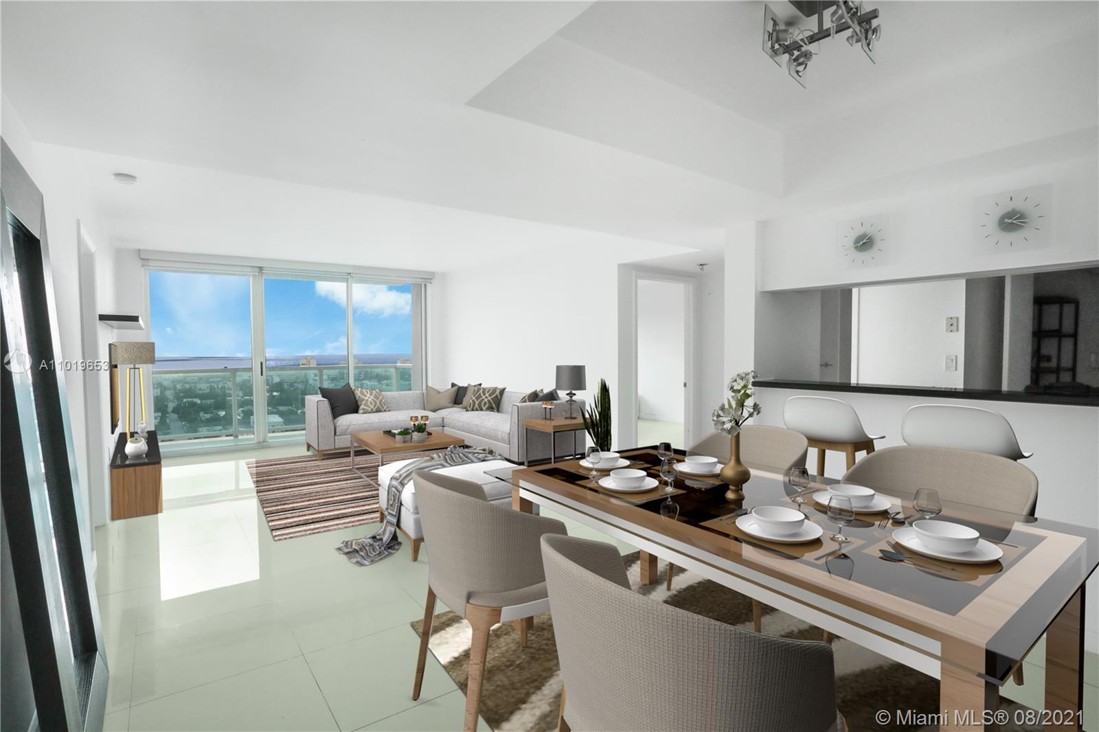 Take in the wonderful views of South Beach and sunrise over the ocean in this remodeled 2 bed/2 bath condo. Split floor plan layout provides privacy. Master bedroom features a large walk in closet, dressing area and of course luxury sized bathroom. The second bedroom is a good size also with plenty of closet space. The Floridian is bay front with excellent amenities including pools, spa, exercise room, boat docks, tennis, business center, concierge, 24 hour security, covered secure parking and much more.