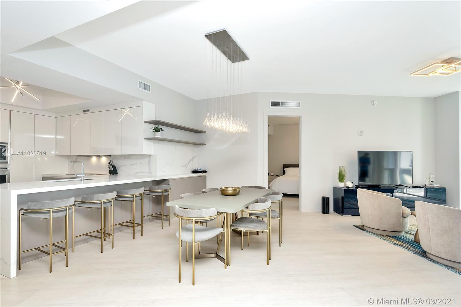 AMAZING OPPORTUNITY FOR RENOVATED / FURNISHED DEAL AT TT1. Unit 2107 is a design masterpiece with porcelain floors throughout, Xtra Hi Hats lightning and modern light fixtures in every room, BRAND NEW Italian Kitchen with beautiful counter top extended to the wall with shelving and extra storage, new pocket doors to ease access to bathroom # 2 and use of living areas, new custom made closets and lights design. Featuring 2016 SQFT of living areas with plenty of space for entertaining and enjoyment, 2 Beds + DEN and 3 full bathrooms, private foyer and some extra storage area. Trump Tower 1 offers full amenities and service at the beach with complimentary chairs, umbrellas & towels. State of the art gym, 24hrs security, valet parking and more. Call listing agent for showings and information!