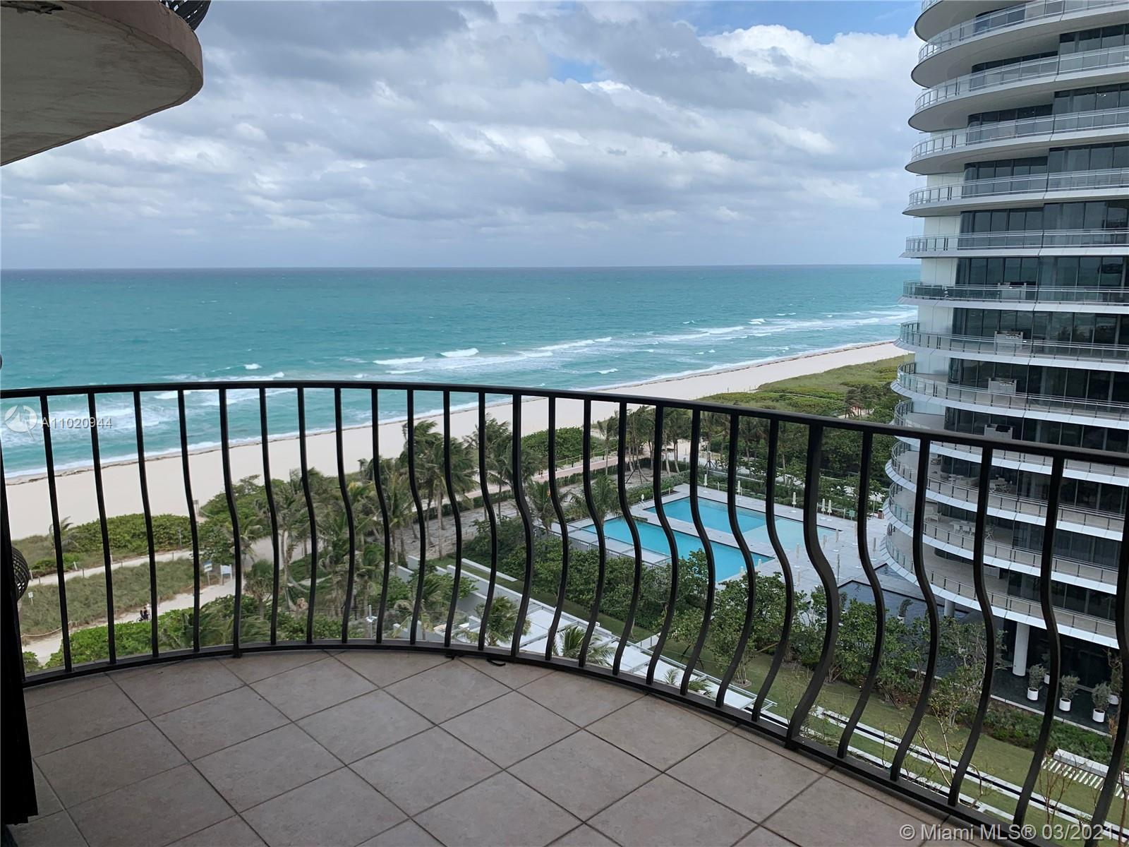 Luxury building on the ocean. Ocean View! Spacious open space layout apartment with beautiful views. Laundry inside the unit. Covered parking #83. Valet parking for second car. Minutes to Bal Harbor shops, house of worship, supermarket and great shops. Heated pool, sauna, fitness center. Building provides high speed internet and cable. Tennis courts across the street and state of the art center for kids. Currently rented to a very good tenant. Security.
