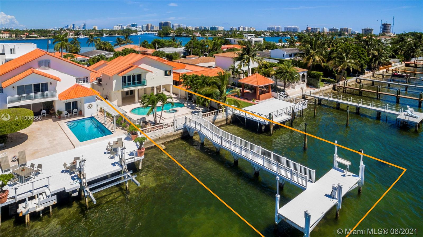 Investment opportunity, rented until April 30, 2022. Tenants do not allow showings. Remodeled home on guard gated island with unobstructed impressive SE views of the wide bay. No bridges to bay and perfect for the serious boater. Enjoy over 3100 adjusted sq.ft. 4 bedrooms 4 full baths + open remodeled gas kitchen facing living areas. Three good sized bedrooms down stairs, spacious master bedroom up. Water side pool & covered patio area + brand new T-dock.