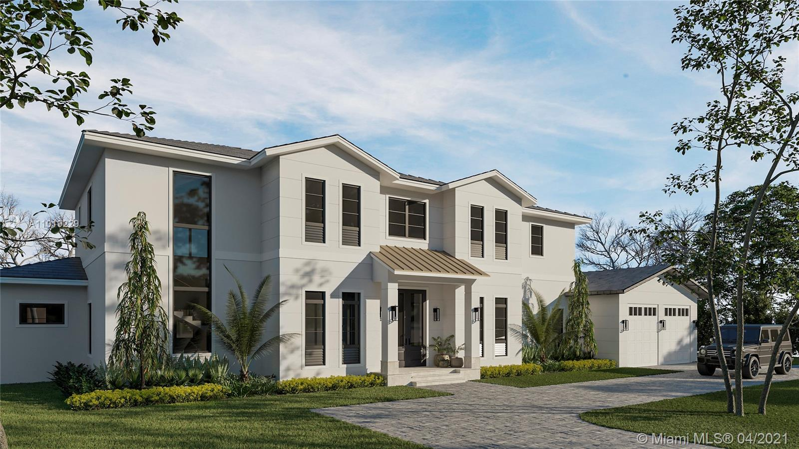 This new lakefront Hollub home under construction embodies the South Florida lifestyle, providing the perfect retreat- nestled on an idyllic Pinecrest street, offering a world of privacy, moments from top schools, recreation and Miami hot spots. Stunning modern farmhouse with legendary timeless design and quality, featuring 6 bedrooms and 7 baths, 6,986 SF, elevator, exceptional living and entertaining spaces with gorgeous views of the artful landscape, pool and lake beyond, custom kitchen with Wolf, Sub-Zero, plus 2 en suite bedrooms. The 2nd floor's luxurious owner's suite has a large terrace with panoramic views. A loft, elevator, plus 3 additional en suite bedrooms complete the 2d floor.