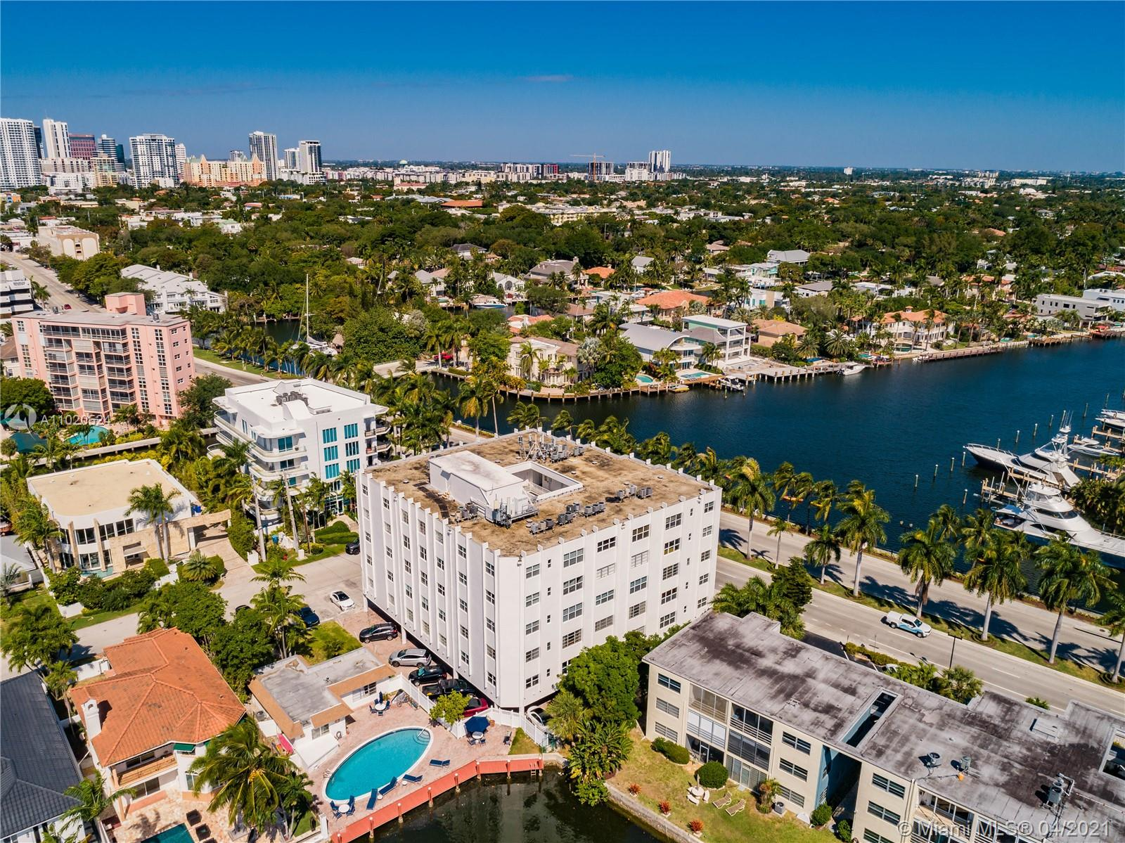 Fantastic Location! East Las Olas Blvd Boutique condo building surrounded by Las Olas Isles located on the 5th floor. Walk to restaurants, bars, shopping, and nearby Fort Lauderdale Beach. Impact windows doors, pool next to dock, elevator, laundry, and 1 assigned covered parking space. Low maintenance fees, Pet restrictions/no dogs. Las Olas Villas Condo