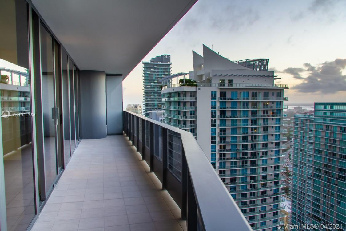 Unobstructed sunset views from the 42nd floor in this exclusive and luxury Brickell Flatiron. 3 bedroom / 3.5 bath plus laundry room, 9 foot ceilings with floor to ceiling impact windows. State of the art Italian kitchen with Snaidero cabinetry, Miele appliances, Italian baths, ceramic tile and custom closets. Brickell Flatiron is located in Brickell's hottest neighborhood. Near Brickell City Center, The financial district and shops. 5 star amenities include 64th floor sky gym and pool, theater,  Billard room, spa, concierge and more. Two assigned parking spaces plus valet. Unit is rented until June 30, 2021.