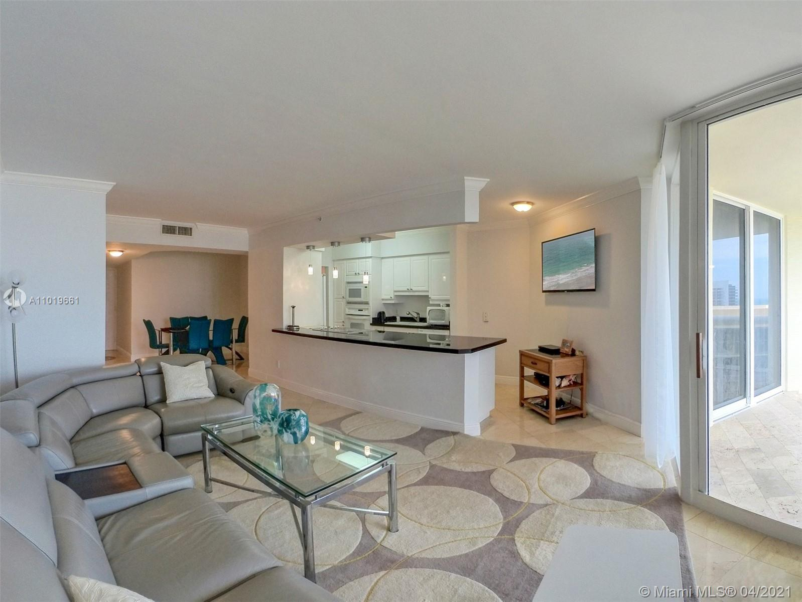 Enjoy 5 star resort amenities at the luxurious, refined beach front Green Diamond Condominium on Millionaire's Row in Miami Beach. This beautiful 1,490 sq.ft, 2 bedroom, 2 bath apartment features a large balcony with views of the ocean and intra-coastal and with access from the bedrooms and living room,  floor to ceiling windows, open kitchen with granite countertops, marble floors thru out, split floor plan, large master suite with walk-in closet and washer/dryer. Amenities include beach and pool attendants, gym, spa, tennis courts, free workout classes, large club house, restaurant with room service, theater room, game room, theater, kiddie play room, 24 hour security, valet, concierge, garage parking, and more.  Minutes from South Beach, the airport and Bal Harbour Shops.