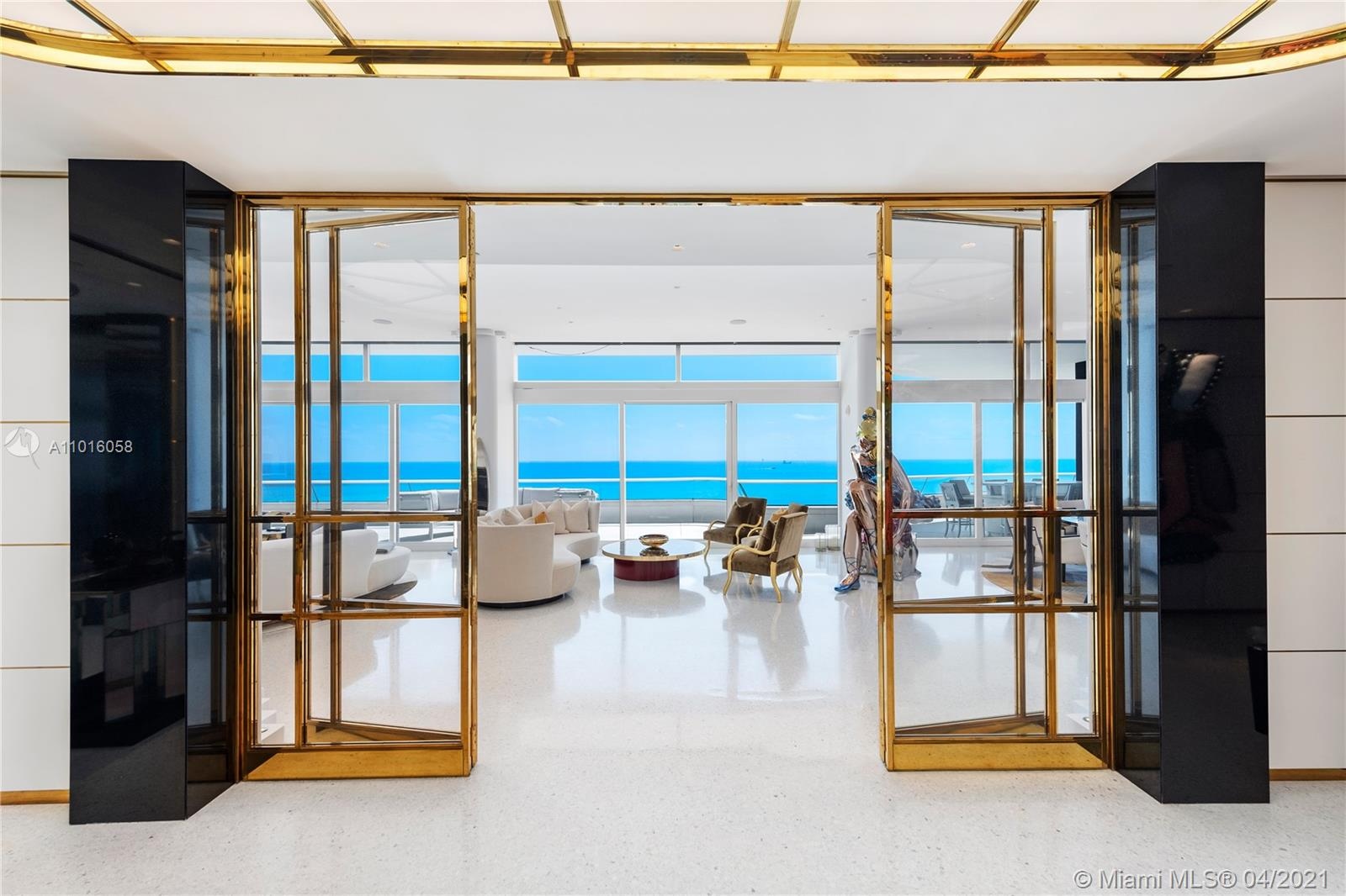 IMPECCABLY DESIGNED ART DECO PENTHOUSE MASTERPIECE BY WETZELS BROWN PARTNERS OF AMSTERDAM CROWNS FAENA HOUSE...ONE OF THE MOST EXCLUSIVE BOUTIQUE TOWERS IN MIAMI BEACH CREATED BY FOSTER + PARTNERS! Mansion in the Sky w/ 270° Views of Ocean, City & Bay. 6 Beds + 6.5 Baths in 6,400 SF of Living Space & Nearly 4,000 SF of Exterior Space. Private Elevator Foyer Arrival into Fine Art Gallery. Nanz Ebony Handles Greet you w/ Ocean Views. Italian Terrazzo Floors t/o Entertaining Areas w/ Dining for 14 Guests. High-Gloss Ebony Bookcase by Metrica + LED Lighting. Molteni Gourmet Eat-in Kitchen + Miele Appliances. Oceanfront Master Suite w/ Custom Built Ebony Furnishings. Rare Textured & Hand-Painted Walls in All Bedrooms. All Baths equipped w/ Dornbracht & Duravit Fixtures. Crestron Home Automation