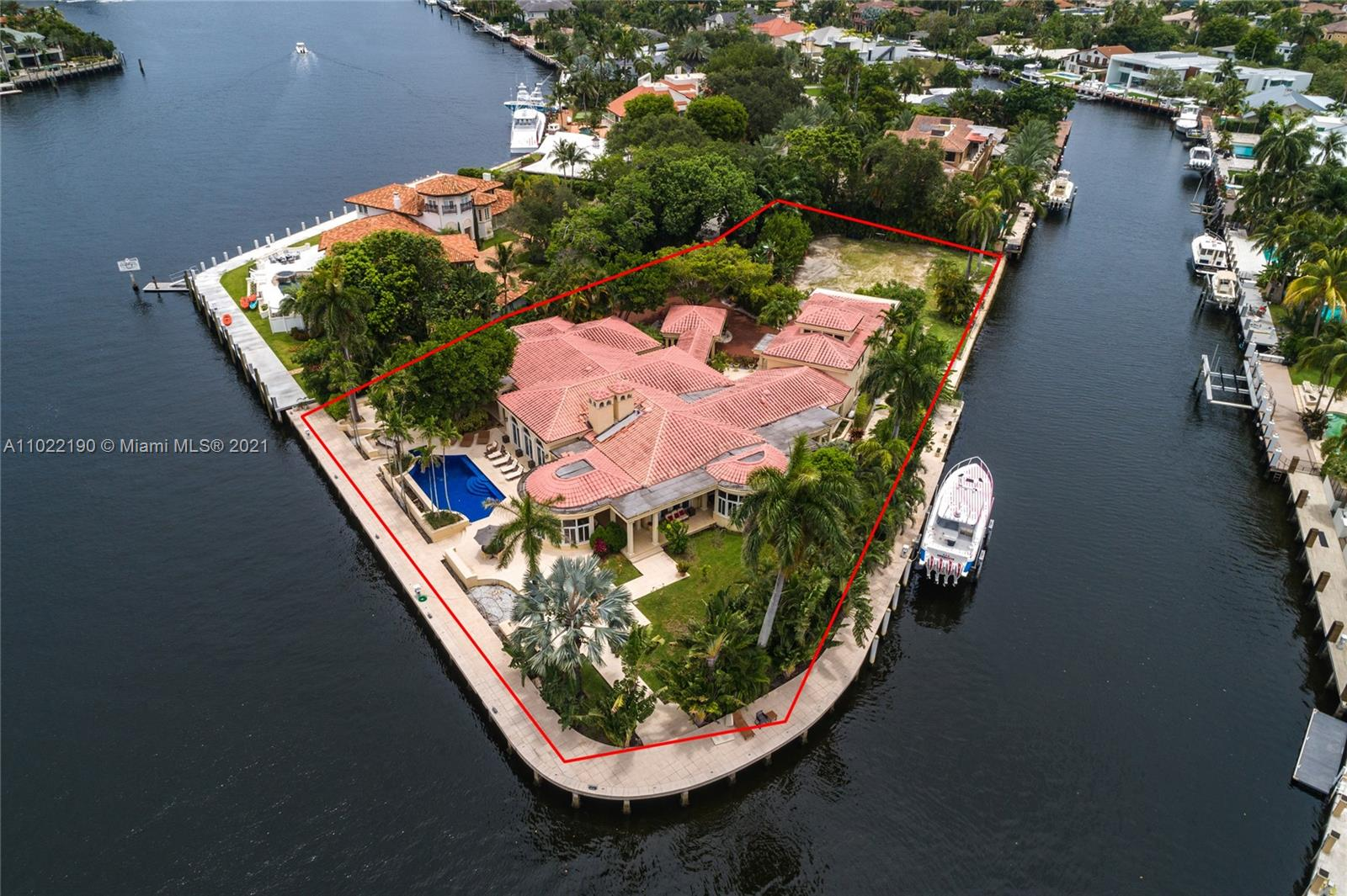 One- of- a- kind private point lot estate in Las Olas. 550 feet of deep and wide protected waterfront on the Rio Barcelona. Can easily fit a mega-yacht of 200 feet or more. Sitting on 1.14 secluded acres, located on the most desired street in Las Olas. This home has 7 bedrooms, 7 1/2 baths and it offers 10,000 square feet of European style and elegance, Soaring Ceilings, large fire place, billiards room, bar and lounge. Outside is a semi-enclosed lounge and outdoor dining area overlooking the water and gardens. The kitchen is designed for a professional chef. The huge first floor master suite and private office open to the pool. 2300 Aqua Vista offers quick ocean access and walking distance to the beach and Las Olas night life.