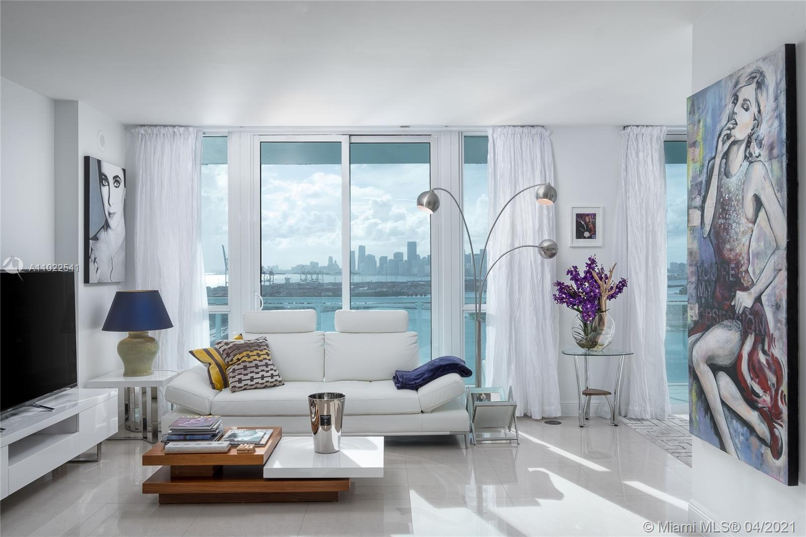 The BEST VIEW IN MIAMI-BEACH, overlooking Star,Hibiscus and Palm Islands, cruise terminal and Brickell Skyline. Full service luxury building offering 24hr security, valet,congierge,gym,heated pool, sauna&steam bath. The apartment has 1 bedroom and a den that is used as a second bedroom and 2 full bathrooms. 3 ways to enter large balcony. Top of the line Subzero and Gaggenau appliances and modern marble floors throughout. Easy to show.