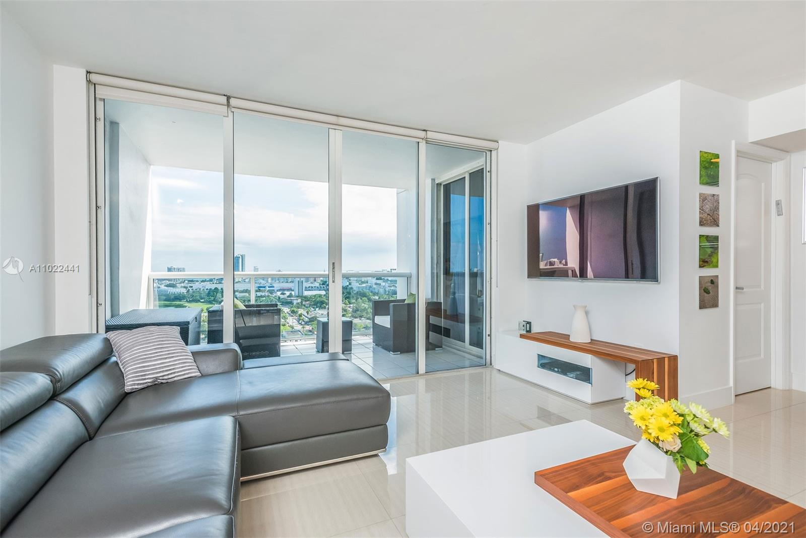 Relax and unwind in this spacious 2-bedroom condo with expansive views of the city beyond, and the beautiful Biscayne Bay. With plenty of living space and an open concept throughout the kitchen and living areas, this condo is a wonderful space for entertaining. The balcony is spread-out enough for hosting and impressing guests with its charming metropolitan views. Located in Sunset Harbour, a resident could not ask for a better location for their home. Restaurants, cafes, and entertainment are only a short walk away, and all that South Beach has to offer is easily within reach.