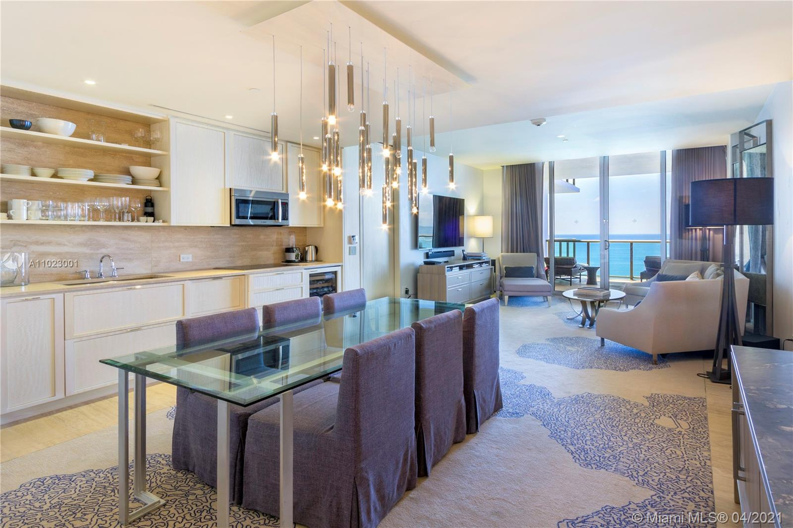 St. Regis exclusive SE exposure fully furnished 1 Bedroom plus Den with 2 full bathrooms condo-hotel unit. Comes with fully equipped kitchen and bathrooms essentials for turn key ease, signature butler service, 12,000 Sqft superb Remede Spa, State of the art fitness center, personal limo service, gourmet dining, nine acres of gardens with 600 Feet ocean frontage and full service ate the pool/beach area. Enter the world of privilege & sophistication that St Regis is !!!