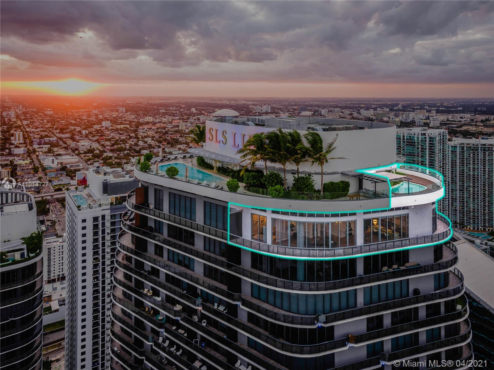 Live Limitlessly on top of Miami, in this exquisite SLS Lux Upper Penthouse, offering a private rooftop pool, summer kitchen, and a total of 2,500SF of outdoor space.