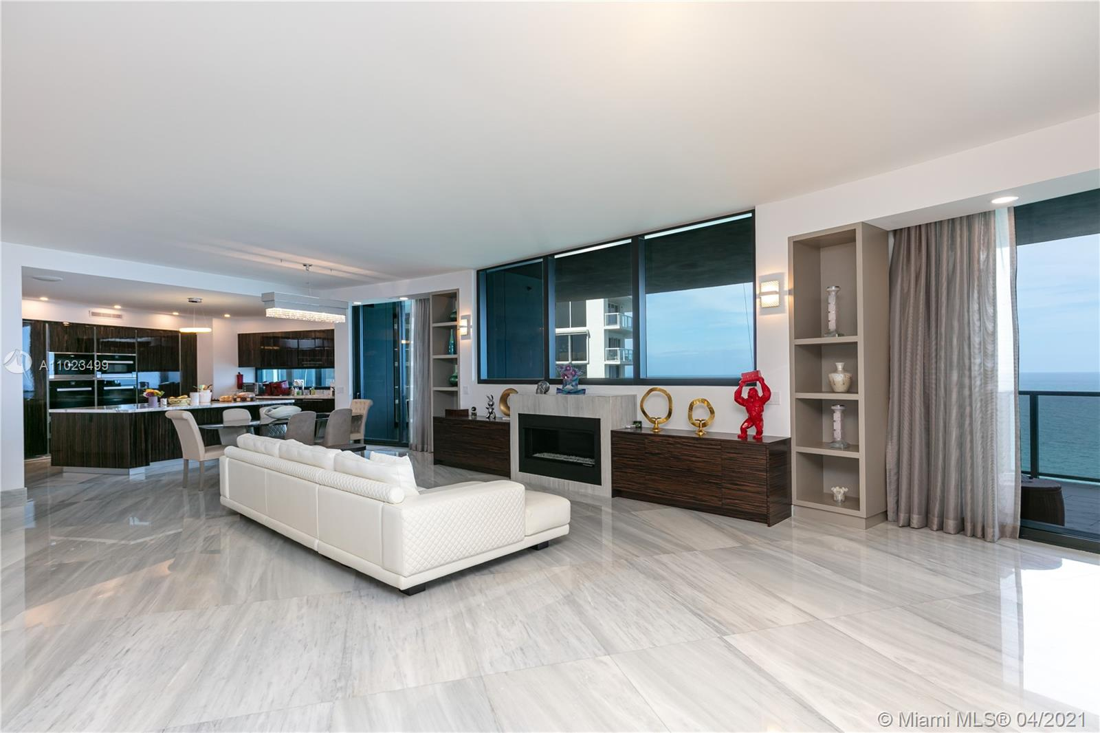 Incredible unit in desirable Porsche Tower residences. The best line in the building, NE corner and the biggest floor plan. 4 full bedrooms, 4 full bathrooms, powder room, 3 living areas, pool on the balcony, elevator to the garage downstairs with 2 cars. Fully furnished with high-end furniture, marble floors. You will be not disappointed. Call today!