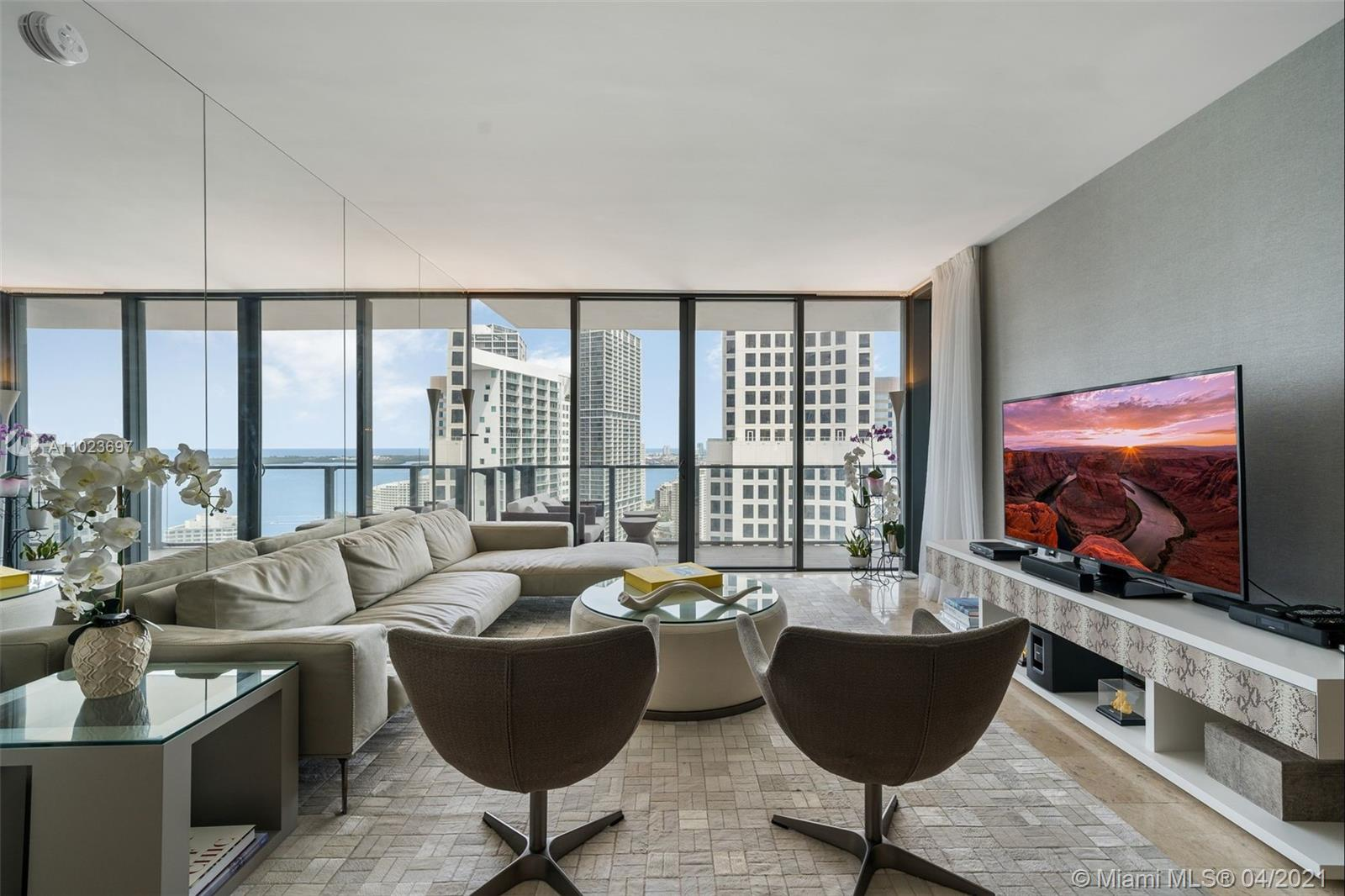 Live Limitlessly at this stylish furnished model unit at Reach Brickell City Centre - a spacious interior unit with floor to ceiling windows and dazzling city and bay views. Enjoy a morning coffee beneath a picturesque city sunrise on your expansive balcony, or entertain friends in this open-concept space that seamlessly blends indoor and outdoor living. This sophisticated, stylish condo features imported marble flooring, sparkling quartz-stone countertops, a relaxing jacuzzi, premium Bosch appliances, and sleek Danze fixtures. Located in Brickell's epicenter for swanky shopping, delicious dining and exciting entertainment, your home will literally be steps from Brickell's most popular destinations, while still promising a calm and tranquil lifestyle.