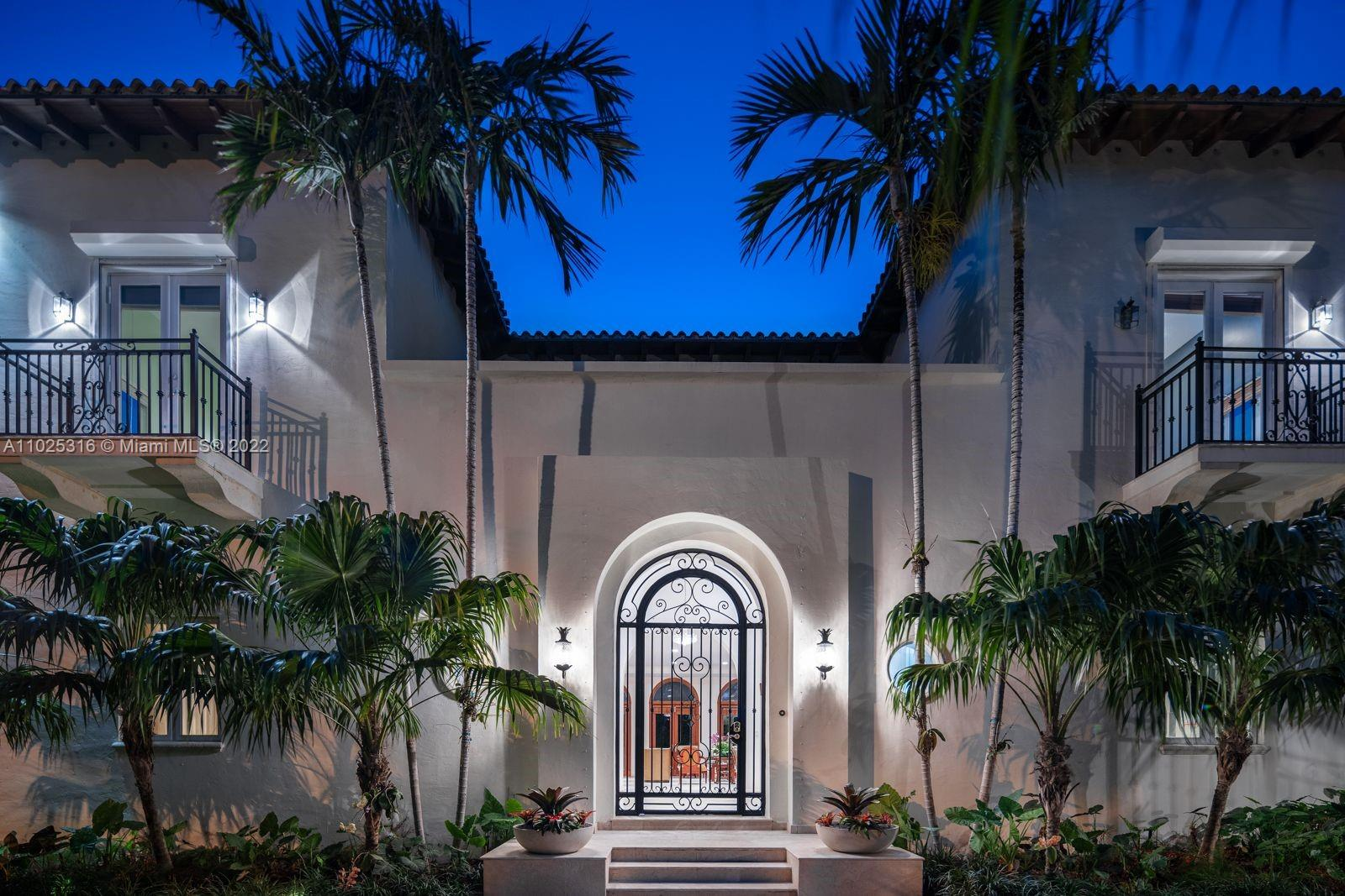 The perfect home for entertaining! Classic & timeless this elegant Mediterranean gem, designed by top architect Rafael Portuondo, is tucked away on a quiet side street. Impeccable landscaping & long private driveway greet you as you approach the grand entryway. Step inside the impressive foyer, then marvel at the Spectacular great rm w/14 ft ceilings & beautiful built in bar area. The formal dining rm offers seating for 16. Six spacious rooms abound, 4 upstairs en suite. Spacious master suite has adjacent office/library, & sunset terrace. Spectacular loggia w/summer kitchen overlooks beautiful gardens, fountain & an alfresco dining area facing oversize pool. Corner home w/over 15,000 ft of land area. No access to home from A1A. Only access is through guard house. Also available for Rent.