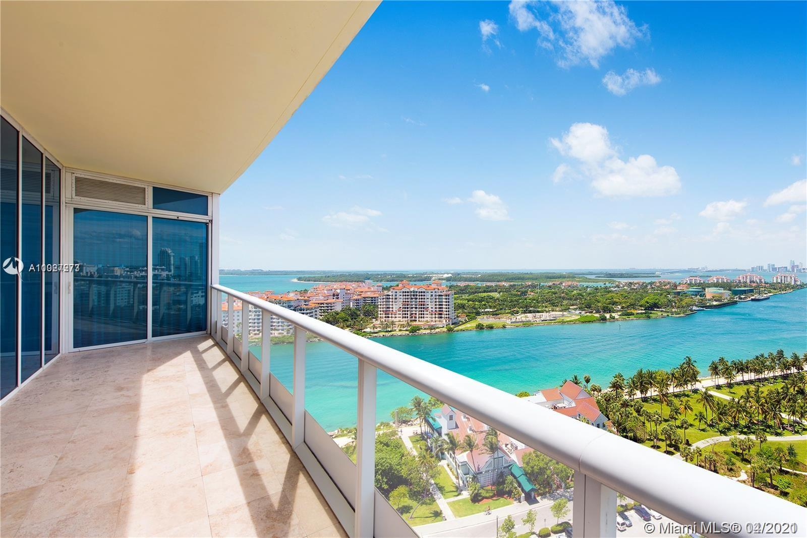 Experience sweeping views of the Ocean, Fisher Island and Downtown Miami from this 2 bedroom residence at The Continuum South Beach. Expansive balcony, open kitchen with Subzero and Miele appliances and a split floorplan with a private foyer. Continuum amenities include 12 acres of playground including pools, 3 tennis courts, great restaurant, beach service and a 10,000 square foot fitness. Gated community affording resort living at its finest.