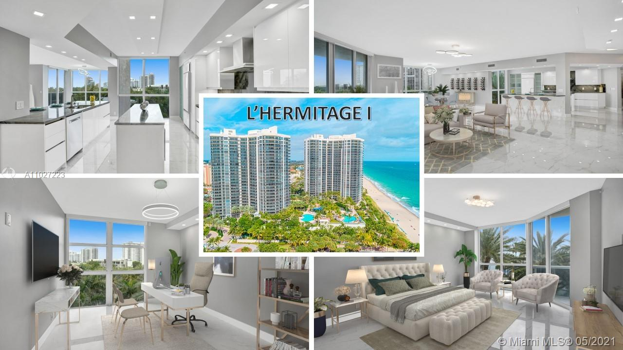 Step off private elevator to foyer w/decorative 3D wall tile into fully remodeled sleek residence. Eyes drawn to wall of windows framing glorious resort views east, city west & ocean over lush landscaping. Imported porcelain tile, contemporary LED lighting & motorized shades in true 3BR/3.5BA 2661SF unit.  247SF terrace to entertain. Chef's kitchen: Bosch DLX series appliances, double island, quartzite counters, European cabinetry, wine fridge & designer touches. Master Suite: balcony access, 2 custom closets, rainfall shower w/2 doorways, vanity area w/makeup lighting. Guest BR: ensuite bath, custom closets & motorized blackouts. Laundry Room: sink & storage. 1 car spot-1 storage locker. Bldg sits on 10 beachfront acres w/resort-style amenities: valet/tennis/gym/pool/Shooter's Cafe