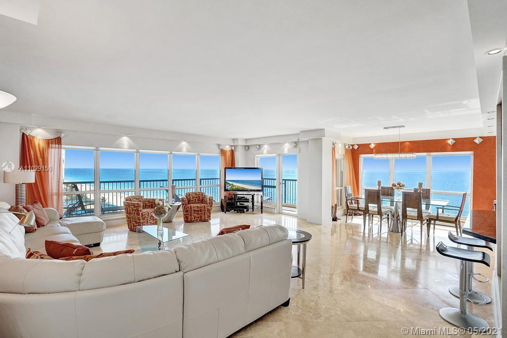 Beautiful NE corner with amazing Direct Oceanfront view.... including the Intracoastal, Skyline and stunning Sunsets. Every room has a view of the ocean! Large wrap balcony from living room. Marble floors throughout, open kitchen offering wood cabinetry, granite countertops, Jenn Aire appliances, wine cooler and breakfast nook. Foyer entry and separate laundry room. Spacious master bedroom with private balcony. Large master bath offering shower, jacuzzi tub, double sinks with onyx countertop. Second and third bedrooms are spacious. Second bath offers shower and additional cabinets for storage. Half bath with onyx countertop. Amenities include oceanfront heated pool, grill area, gym, saunas, pickle ball & bocce courts, tennis, billiards room, vehicle car wash. 24/7 security. Small pet okay.