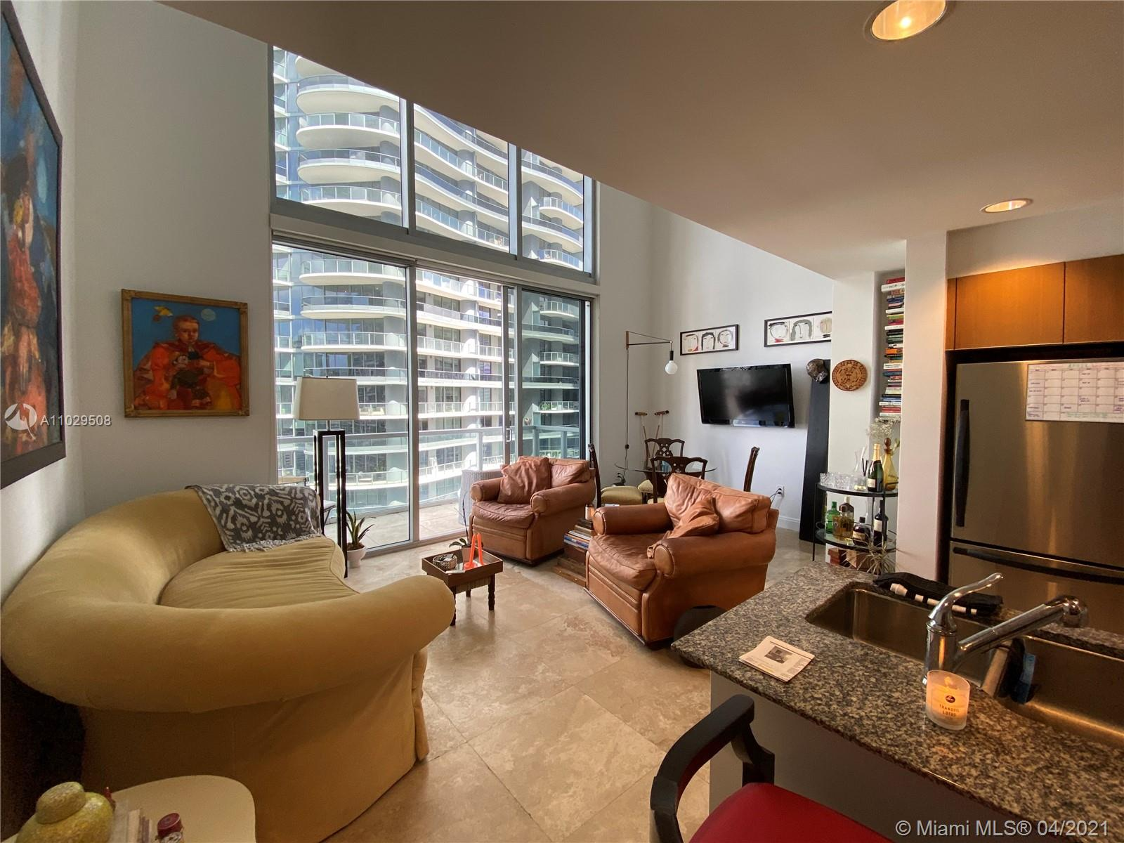Gorgeous 2-story loft-style 1 bedroom and 1.5 bathrooms with 24x24 marble floors located in the heart of Brickell. Amenities include fitness center, spa, wine and cigar rooms, pool, business center 24 hrs security and valet parking. One parking space assigned. Walking distance to restaurants, shopping centers, supermarkets, bars and nightclubs. Rented to great tenants until June 2021.
