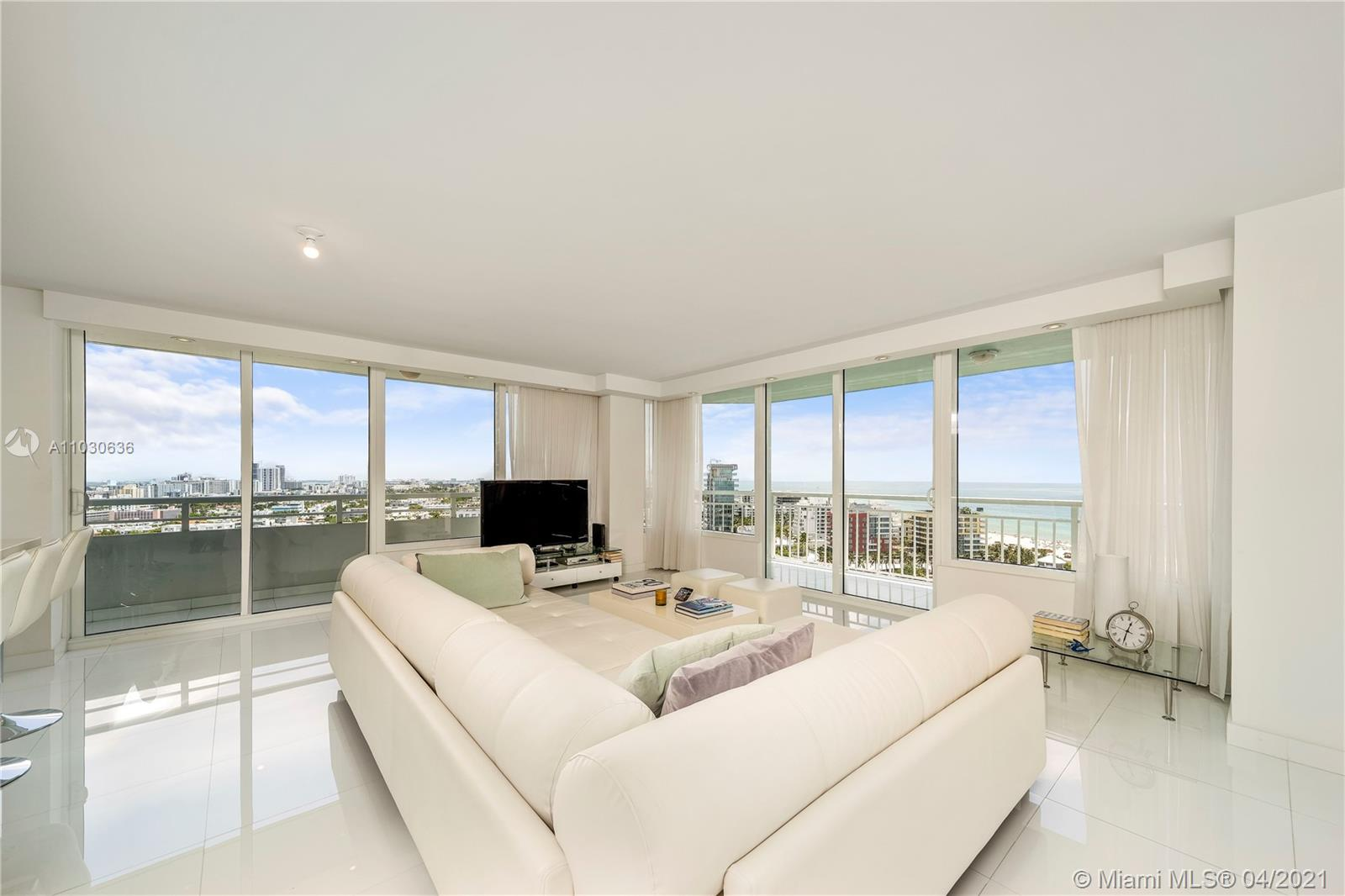Complete high-end modern renovated high floor corner residence with breathtaking ocean and city views from the best location and neighborhood in Miami Beach; South of Fifth. Spacious living room with an abundance of natural light and a large wrap around terrace. Open kitchen with a large island, great for families and entertaining. Upgraded hurricane Impact windows and sliding doors. Large wrap around terrace. Open kitchen with breakfast area, including high-end appliances. Well appointed bedrooms with stunning ocean views. Walk to the ocean, South Pointe Park, Miami Beach Marina, boardwalk, bay walk, and dozens of 5 star restaurants. Remodeled pool deck, tennis courts, dog park, gym and more coming soon! Great opportunity, do not miss out!