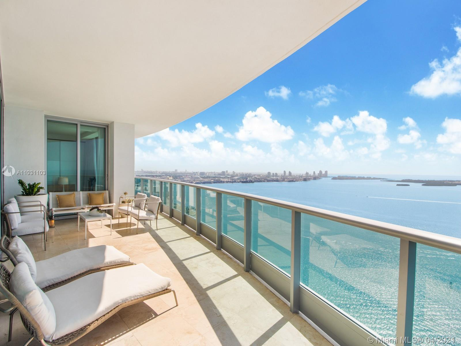 Forever bay to ocean views that will never be obstructed....The perfect mix of  ocean, bay and ... sky is the limit type of feeling since you walk out of your private elevator to  this Southeast corner unit.  Perfection is the word that comes to mind as you walk thru this 4 bedroom 4.5 bathroom unit.  This home in the sky flows from sunrise to sunset as the day turns into night to appreciate city lights and the Miami skyline.  Top of the lines appliances,  concierge, free valet parking, full gym, health spa, roof top party room. Full service building ready for the new owners!