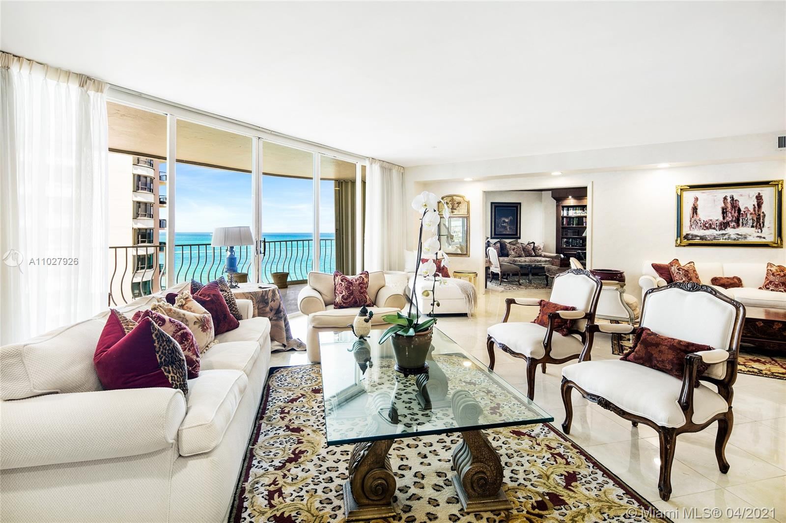 """This partially renovated 2BR/3BA unit offers 2,525 SF of interior space with a large terrace that provides beautiful views to the ocean, over the bay. 16'X16"""" Crema Marfil marble floors throughout except the principle bedroom where there is carpeting. Open kitchen with Thermador oven, Sub-Zero refrigerator and custom cabinetry that leads to the private dining room. The principal bedroom offers 2 large walk-in closets, direct terrace access with ocean views & one principle bathroom has a spa tub & the other has a shower. The second bedroom is currently used as a den and has a full bathroom. Laundry room equipped with Whirlpool washer and dryer and mop sink. Bal Harbour 101 is a full-service building on the ocean - amenities include: restaurant, pool/beach & room service, gym & tennis court."""