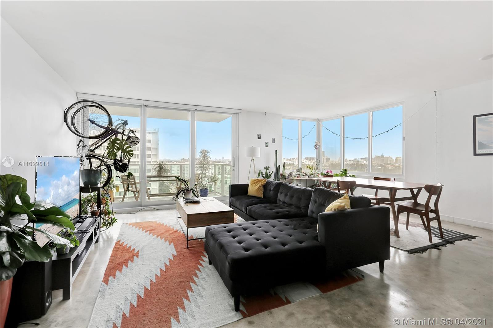Over-sized 1 bedroom, 1.5 bath at the Mirador 1000, 14th floor overlooking all of SoBe with views all the way to the ocean. This unit comes with new high-impact windows and doors, 3 large closets, 2 are walk-ins, along with a linen closet. Apartment has polished concrete floors, updated kitchen, and a balcony.  Unit comes with 1 assigned covered parking space ($20K value). The Mirador is a full service building that includes a doorman, gym, and pool. Please see following link to access the 3-D tour https://soflo-rephotos.view.property/public/vtour/display/1819074#!/matterport