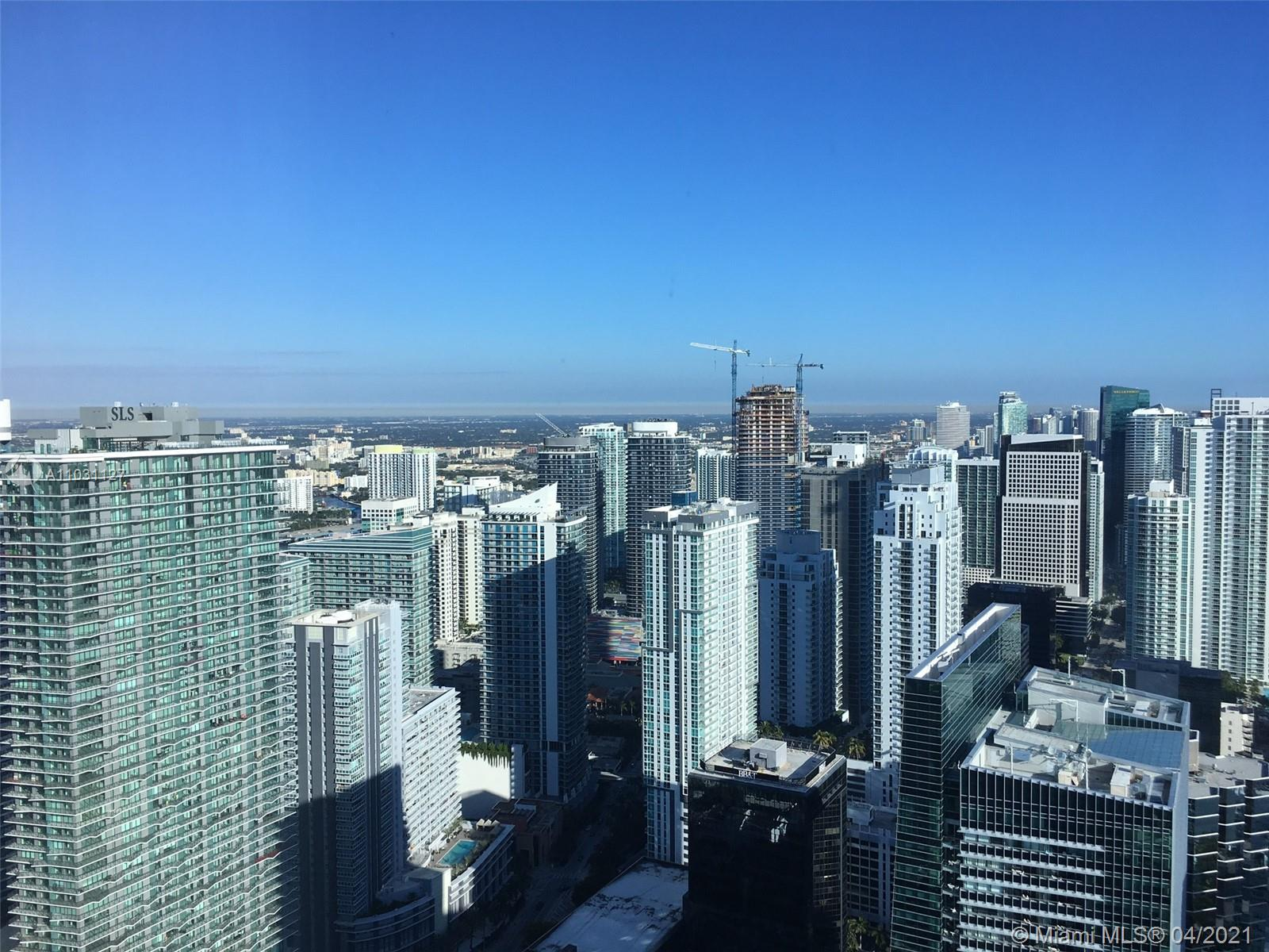 Furnished, beautifully upgraded unit on the 58th floor, gorgeous Miami skyline, bay and ocean views.  Top of the line Miele and Viking appliances.  Remote Control window treatments, unique electric privacy glass in master bathroom.   5 star Four Seasons living, 24 hour room service and concierge.  Easy to show, text preferred.  Occupied until June 30, 2021.