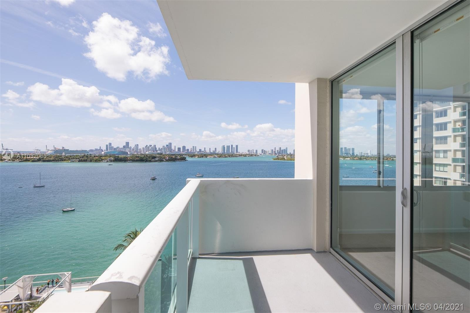 Rarely available, largest 1/1.5 floor plan at Mirador with direct east bay views. Most desirable floorplan with oversized windows facing the bay. Breathtaking sunset views of Star Island, Biscayne Bay and the signature Downtown Miami Skyline. Make this home your masterpiece. Residence features impact windows, solar shades, and some additional modern touches. Lots of potential with this million dollar view. Ideal location next to Mondrian, 2 blocks Shops at West Avenue & Whole Foods supermarket. Only 4.5 blocks to Lincoln Rd and minutes to world famous Ocean Drive. Don't miss this opportunity.