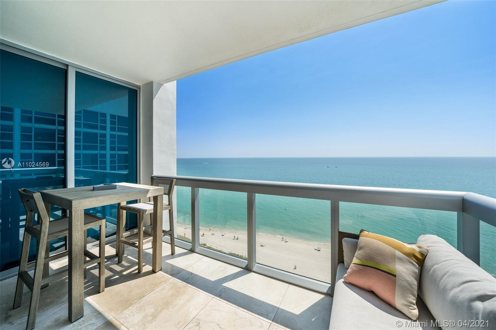 The ultimate in glamorous oceanfront living, this Carillon Residences condo occupies a class all its own! Magnificent in proportion & unstinting in luxury, this 2BD/2BA corner unit opens upon a bright & breezy open layout that immediately seizes attention w/direct ocean panoramas. A stunning gourmet kitchen claims the spotlight, ready for culinary excellence. A private balcony makes a great addition of entertainment space just off the living room w/unobstructed ocean views. The window-wrapped master indulges the senses w/glittering seascapes & spa-like ensuite. This building enjoys direct access to 750ft of white sand beach, valet, 24hr doorman lobby & concierge. Residents also enjoy access to the incredible amenities at the Carillon Wellness Resort. This is Miami Beach Living.