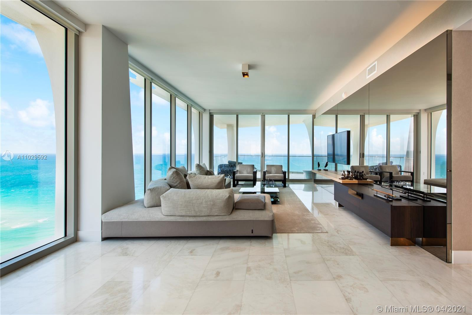 Breathtaking corner flow-thru 4 bedrooms 5.5 bathrooms residence with unobstructed views. This residence features an oversized terrace facing the ocean and private terraces in every room. This special floor plan has 2 bedrooms facing the ocean. Floor-to-ceiling windows boasting natural sunlight. Floors are marble and wood in bedrooms. Private elevator with custom foyer. This residence was the developer model unit and is ready to move in. Finished with the highest quality materials, no expense was spared. Kitchen has Snaidero cabinets and Gaggeanau appliances. Jade Signature features 3 floors of world-class amenities such as on-sight dining, fully serviced spa, salon and outdoor water therapy terrace; fitness facilities with sunset yoga deck, Pilates/spin studios; teen lounge and kids room.