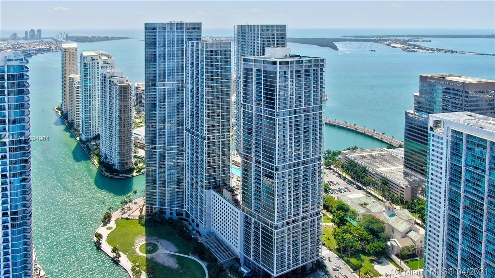 Corner unit on the 48th floor with southeast exposure overlooking Brickell, Brickell Key and Key Biscayne. Completely remodeled unit with fine touches, featuring 3 bedrooms, 3 full bathrooms, Automated system for lighting, sound and Window treatments. Master bedroom features a large closet space, double sink and cabinets, enclosed shower and Toilet room. This unit offers a storage room inside the unit. AC diffusers, custom mirrors an much more. Icon's architecture, by the world renowned firm Arquitectonica, is unique and ultra-contemporary, perfectly paired with the interior design by Philipe Starck. Its Olympic-length pool overlooking Biscayne Bay, its exceptional spa, and its lushly landscaped outdoor living room, are some of the distinct amenities that make this building a true icon.