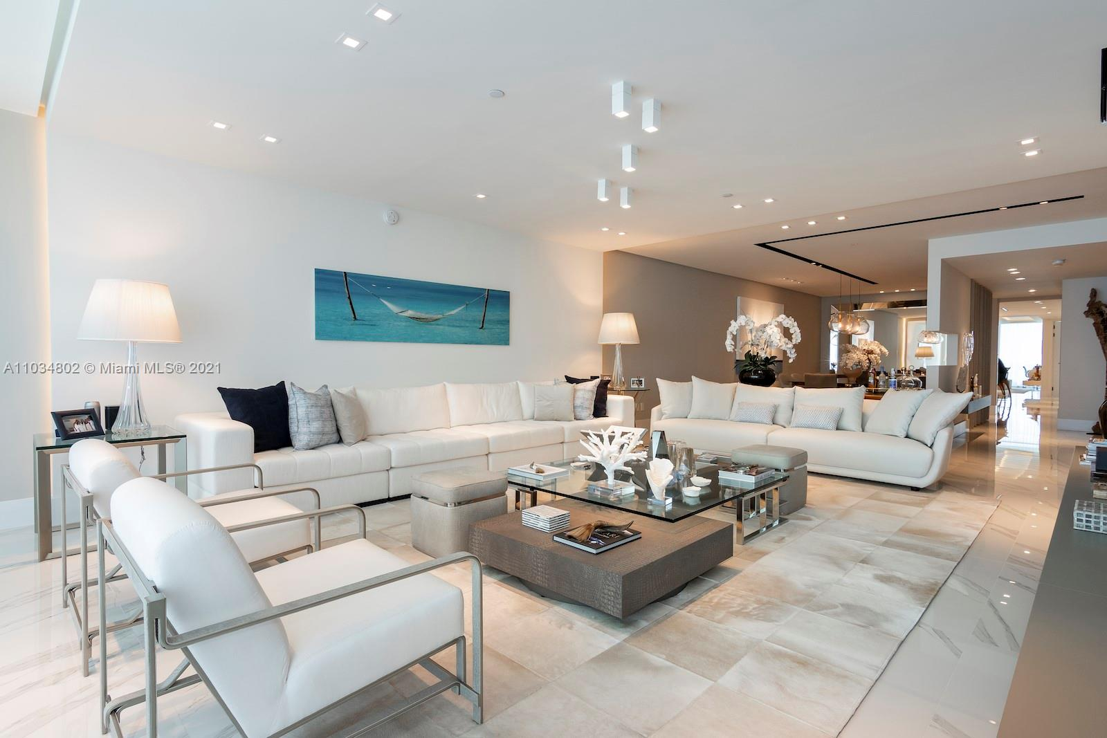 Gorgeous unit at the most prestigious building at Bal Harbour. Unit comes fully furnished, with all Artefacto furniture. Amazing ocean views from living room and master bedroom & Bay and city views from family room and other 2 bedrooms. Unit offers a maids/laundry room with a full bathroom. Please call now for a private showing.