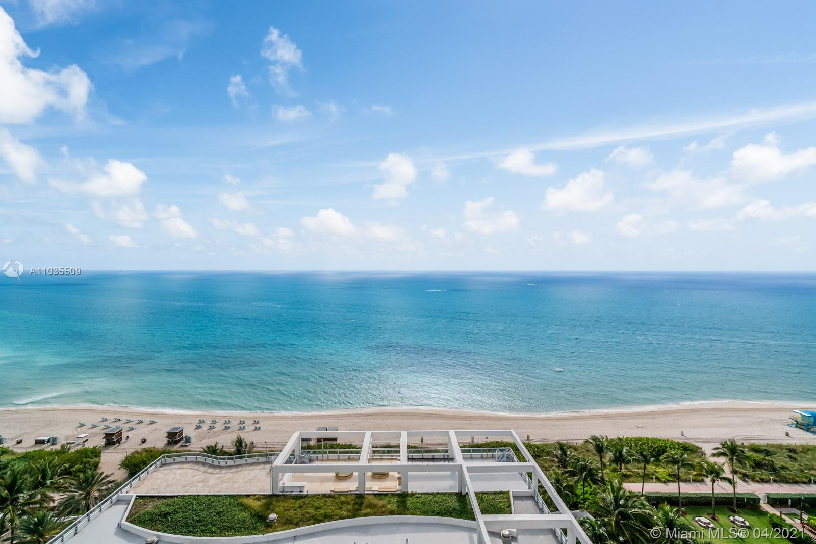 """Rare opportunity to own a beautifully renovated, fully furnished smart home w/ expansive ocean views in the 04 line at The Carillon Miami Wellness Resort - South Tower. This turnkey, move-in ready residence features custom lighting, new kitchen w/ quartz countertops, Miele appliances, a spa like master bathroom and new W/D in unit. Smart Home technology includes high-end WiFi and wall-mounted iPads for control of lighting, security/alarm, HVAC, Sonos sound system, motorized blinds, and appliances. Entertain guests on the spacious, oceanfront balcony - your outdoor """"living room.""""Enjoy the ultimate resort lifestyle w/ over 5 acres of pristine oceanfront property, 70,000sqft of wellness facilities & 225+ fitness classes weekly. Maint fee includes $200 monthly credit for dining & spa services."""