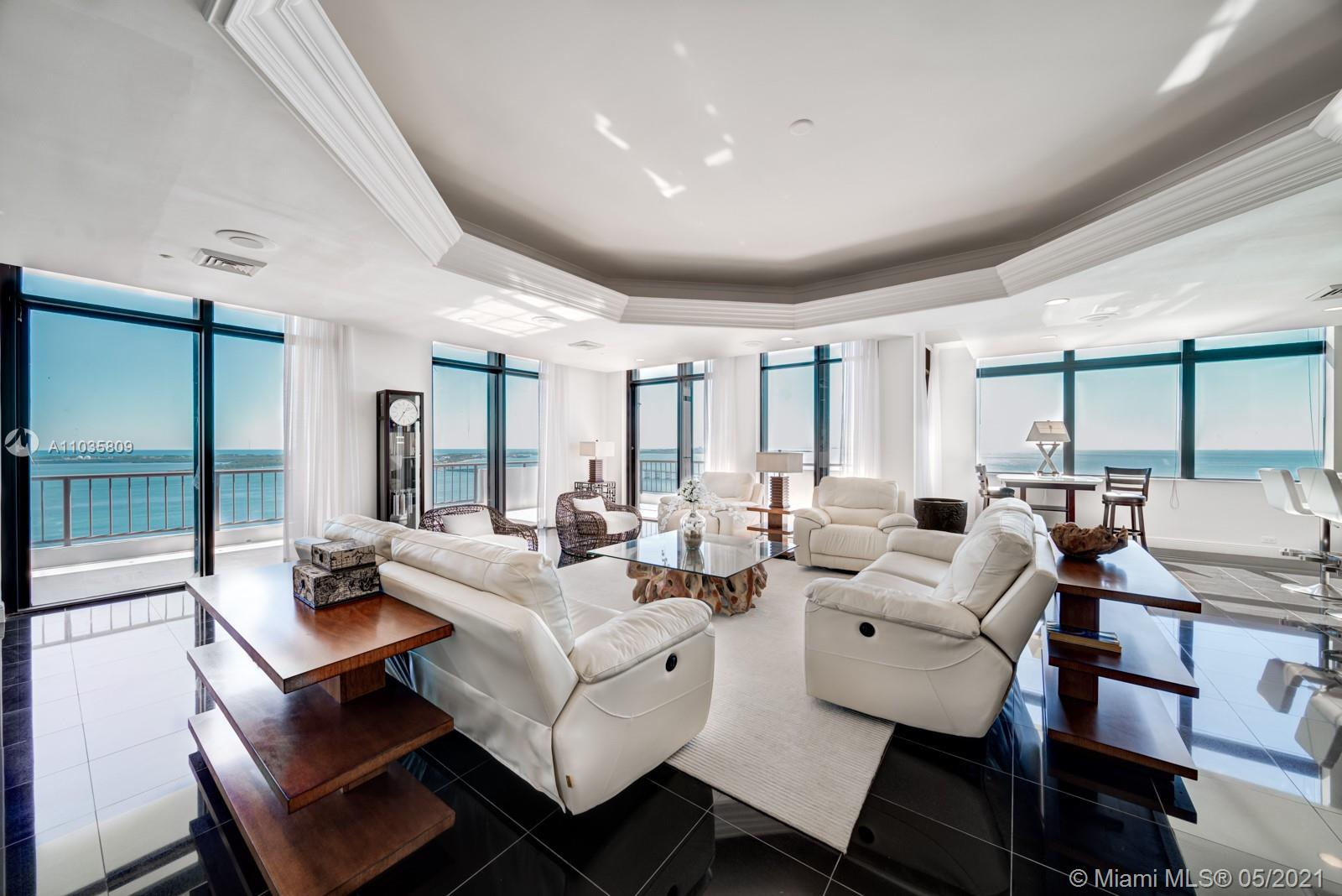 EXTRAORDINARY 7280 sf apartment facing Brickell Ave and Biscayne Bay. This 6 Bedroom & 6.5 Baths with a STUNNING and endless view of the Bay and Brickell Ave, comes with PRIVATE 40ft boat dock, 6 assigned parking spaces. 2 of the bedrooms are lofts w/water views. The living area includes a full bar, formal dining, breakfast area, teppanyaki cook-top, wrap-around balcony. Amenities: BBQ Area, Pool, State-of-the-art Gym, Party Room, Kids Room & more. There is NOTHING in Brickell that compares, see for yourself!
