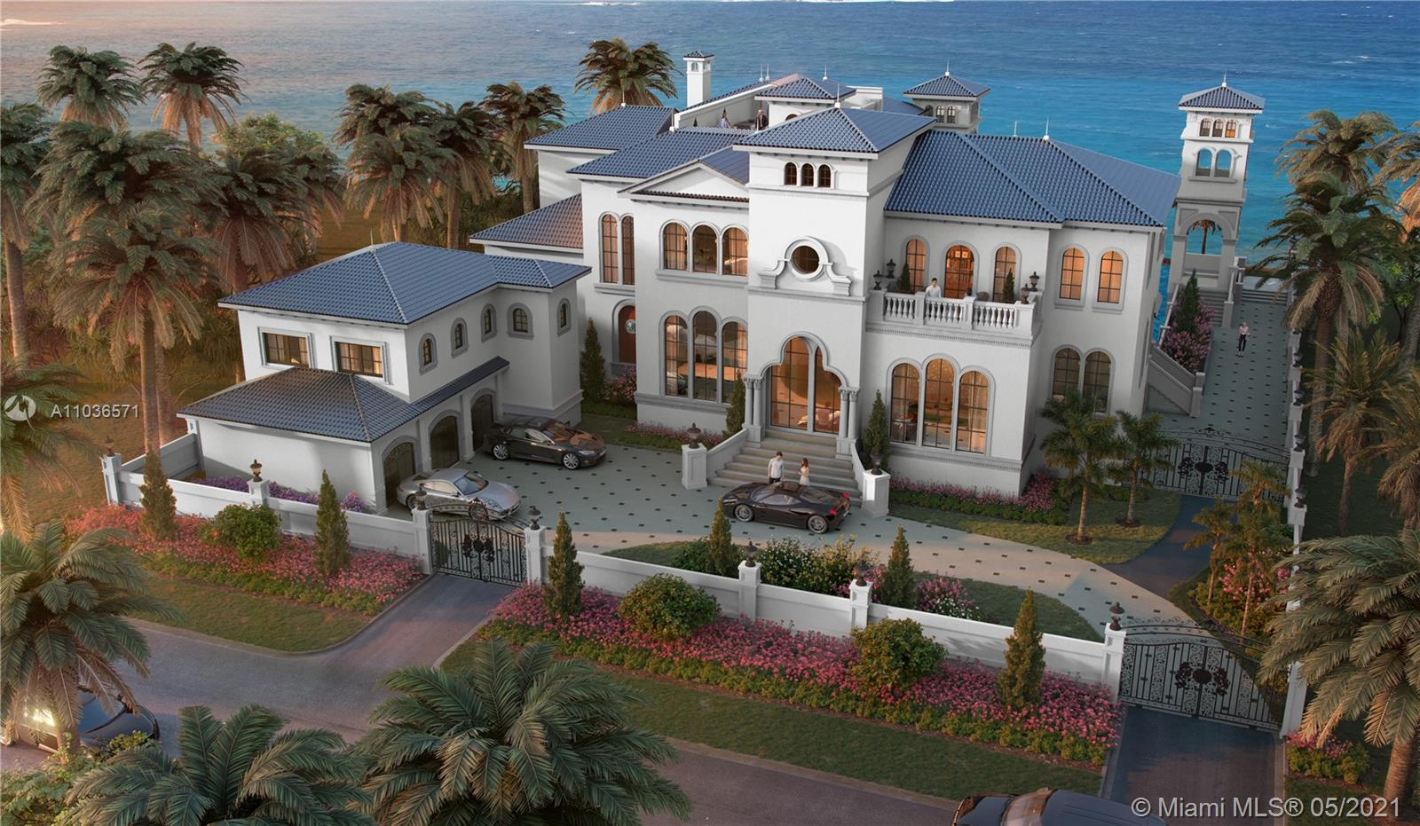 Designed by award-winning designer and builder Andrea D'Alessio. This 11,000± sq. ft. mansion with 10 beds/14 baths, is situated on an oversized 22,000± square foot lot. 125± linear feet of water frontage with new seawall and yacht-accommodating dock. 12-foot ceilings throughout with elevator access to a roof top deck and portico. Custom interior finishes include (1) imported Italian marble floors; (2) hand-crafted solid wood cabinets imported from Milan, Italy; (3) a spacious home gym; (4) a state-of-the-art media room; and (5) a Crestron home automation system (6) 3-car garage (7) 2 bed/2 bath guesthouse.  Completion Date:  8/1/2021