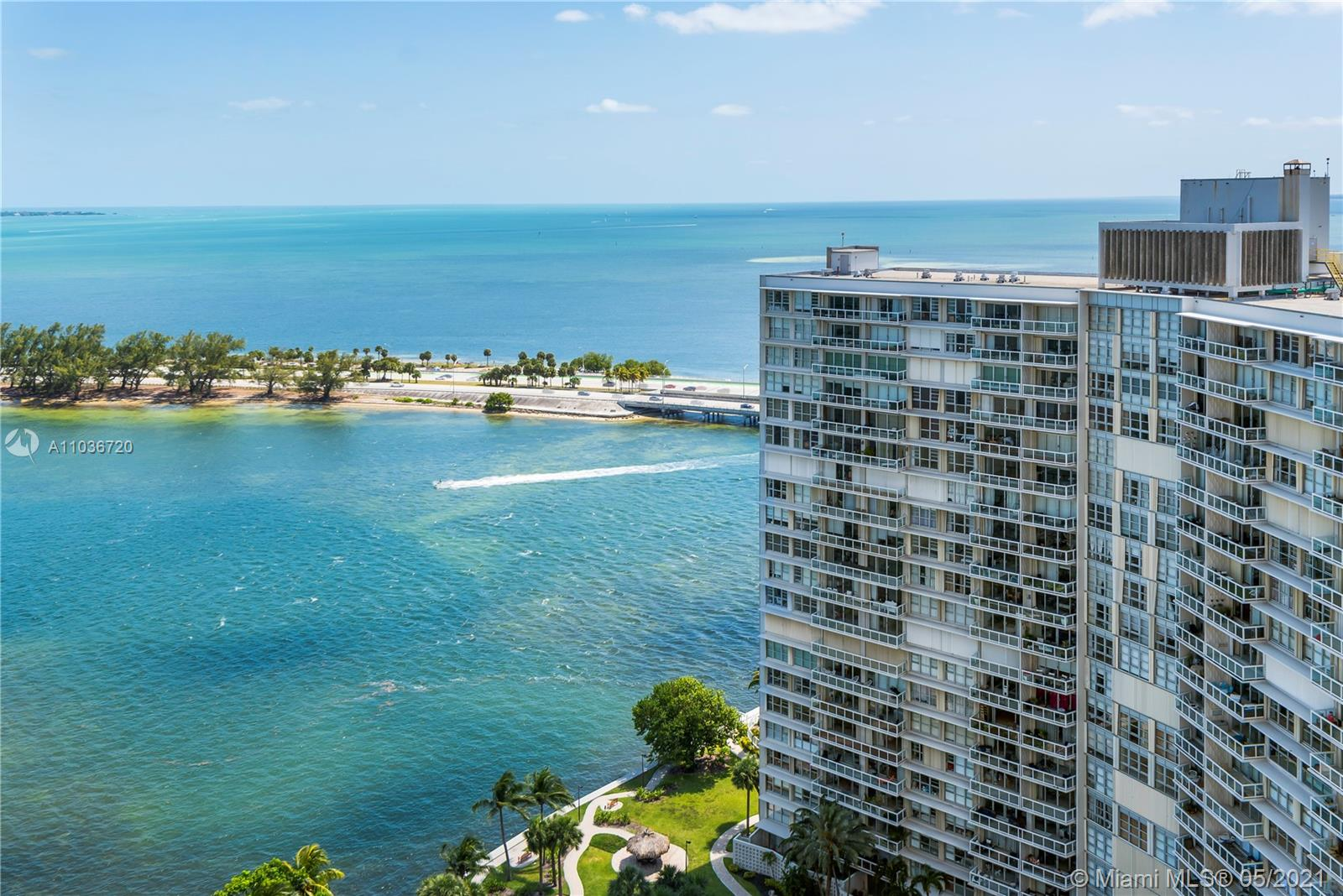 Located in the Heart of South Florida's Financial District, this family friendly community is surrounded by excellent private schools, parks and local attractions. Enjoy amazing panoramic views over Biscayne Bay from this spacious, 2 Bed/2 Bath condo featuring water views, large kitchen, double walk-in closets and Marble flooring throughout. Condo has impact windows throughout. Washer & dryer inside unit. Five tennis courts, state of the art fitness center, Olympic pool, convenience store, beauty parlor, assigned covered parking space, 24/7 guard at gate & lobby, and 24/7 valet
