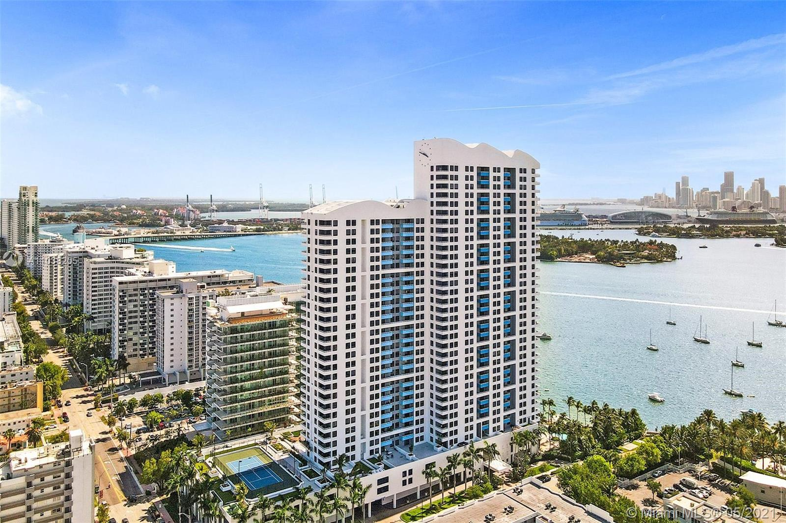 Welcome to Waverly - Unit 2303! Don't miss out on Gorgeous 1/1 on High Floor at The Waverly South Beach! Featuring panoramic views from the Ocean to the Bay. Enjoy breathtaking Biscayne Bay sunsets on the spacious & private balcony! Renovated unit with modern ceramic floors, bright kitchen cabinets, and stainless steel appliances. Brand new full-size washer and dryer. Includes extended cable tv package with DVR, premium channels, and high-speed internet. The Waverly offers extensive amenities including a gorgeous lagoon pool, Jacuzzi, grill area, private bayview event room, fully-equipped gym, business center, 24-hour concierge and security. Steps away from Lincoln Road, Sunset Harbor Shops, Flamingo Park, and the Beaches! **Special Assessments PAID IN FULL**
