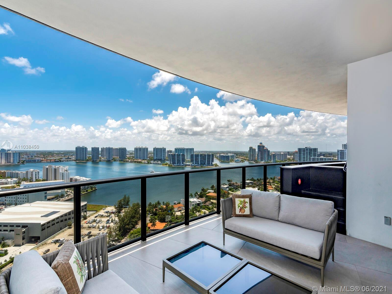 Enter by private elevator to this brand-new, luxury 4,154 SF furnished residence with an over-sized 831 SF terrace. The expansive balcony features plunge pool & outdoor summer kitchen with western exposure overlooking sunsets over the downtown skyline & partial ocean views. All 4 bedrooms offer en-suite bathrooms, large closets, and picturesque floor-to-ceiling glass walls. Den can be converted into a 5th bedroom or entertainment room. High-end finishes and state-of-the-art Poggenpohl kitchen with Miele appliances. Porsche offers 5 star amenities: full service restaurant & bar, theater, yoga + fitness studio, spa, steam room + sauna, virtual car & golf simulator, pool, and is situated 200 ft on the Ocean with beach service. Unit is current rented and will be available on June 1st.