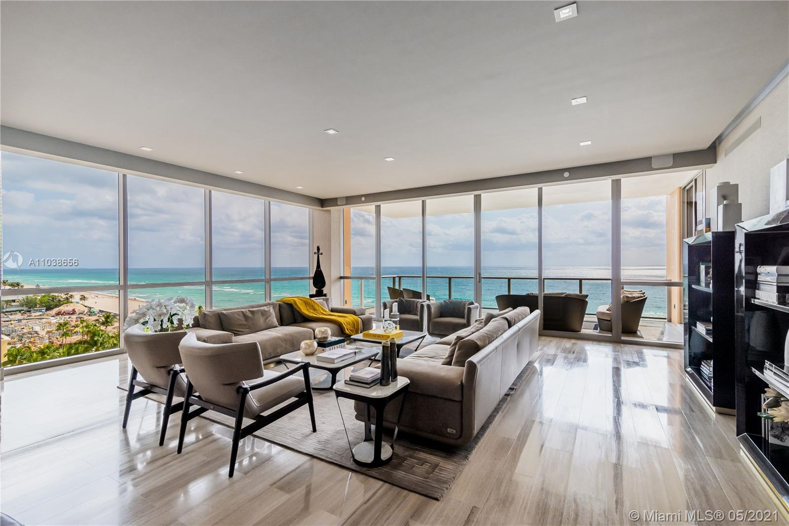 An incredible opportunity to own in the magnificent Mansions at Acqualina and enjoy the five star services at your fingertips. This spectacular beach house is in impeccable condition and the perfect backdrop to the most incredible city and ocean views. It features marble and wood floors through out, a state of the art kitchen with Miele appliances and marble counter tops, his and hers master bathrooms featuring Onyx throughout and custom leather designer closets. This phenomenal residence has over 4, 600 sqft of interior, with large east and west facing balconies featuring a summer kitchen and Jacuzzi. Day and night, enjoy your southern exposure views overlooking the Atlantic Ocean and the Miami skyline.