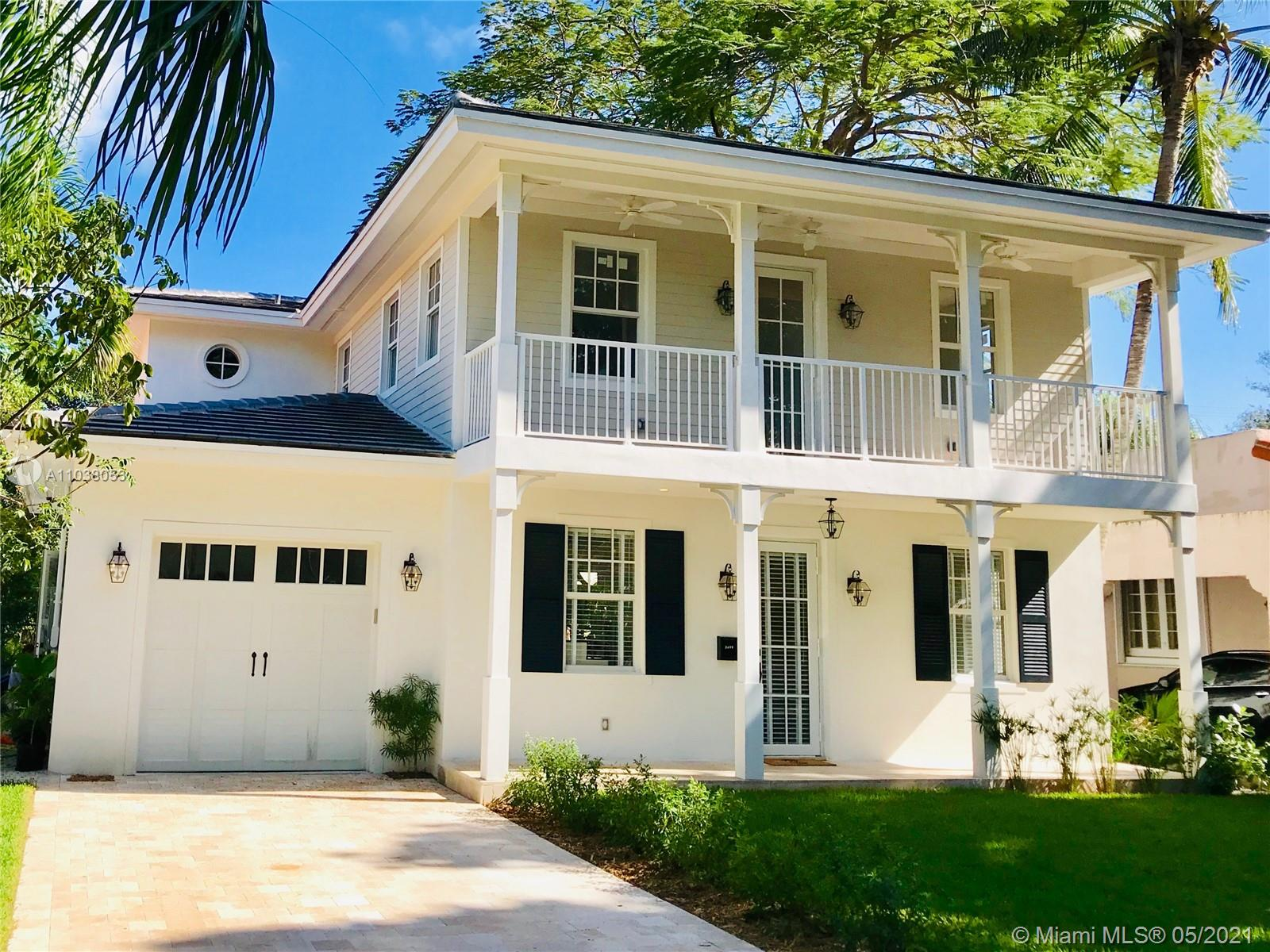 A rare find in the Golden Triangle! This elegant Key West style home is a completely new construction of 2020. Large open spaces, high ceilings and soft natural colors create a relaxing atmosphere. A lush tropical garden surrounds the sparkling pool, making it a perfect retreat in this most coveted neighborhood, with picturesque tree-lined streets, close to the downtowns of Coral Gables and Miami. The Biltmore golf, Venetian Pool, Miracle Mile shops & restaurants are a short stroll or bike ride away. 4 beds/4 baths, trendy kitchen, beautiful wooden stairs leading to a spacious landing, master bedroom w/ walk-in closet, double sinks, freestanding tub, shower and separate toilet. One-car garage, laundry area. Quality finishes w/ top of the line appliances and home systems.