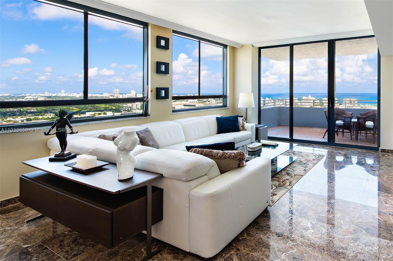 AN EXTRAORDINARY PENTHOUSE IN SOUTH BEACH  Enjoy  breathtaking views of the ocean, city and bay on the 36th floor of the Waverly Condominium  from 2 large private balconies and wide windows in every room. The master bedroom private balcony is the perfect spot for morning coffee. This beautiful penthouse has high end finishes, 9 ft ceilings, imported Italian marble floors, open kitchen, walk-in closets, storage closet. The Waverly is a full service condominium with a serene heated pool and hot tub on Biscayne Bay, BBQs, tennis court, putting green, high end gym, party room, convenience store, 24 hour concierge, security, valet. The Waverly is a short walk to Lincoln Rd, restaurants, theater, shops and beach. 1,831 sq ft w/balconies Cable, internet included. 3 garage spaces  Dog friendly