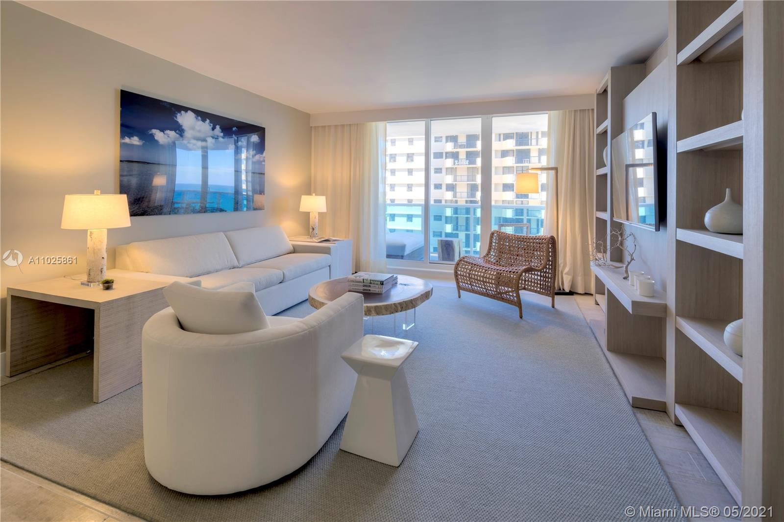 This gorgeous 985 Sq. Ft. 1 bedroom, 1 bathroom is the perfect combination of all things natural and organic in a luxurious setting. Enjoy the private fully furnished balcony complete with a custom double chaise lounge and a table set for two overlooking the Atlantic Ocean and Intracoastal. The living room has a plush white organic sofa that converts into a bed, and a gorgeous maple dining table.  ItalKraft gourmet kitchen, sensual limestone bathrooms with luxurious Dornbracht fixtures. Enjoy a variety of services including a private fully-staffed residence lobby, valet attendants, personal concierge, and chauffeured Tesla SUV's. Eco-conscious amenities to include 4 pools, 4 restaurants, 3 bars, 14,000 sq. ft. gym, Bamford spa, hair salon, Soul Cycle, and mjuch more.