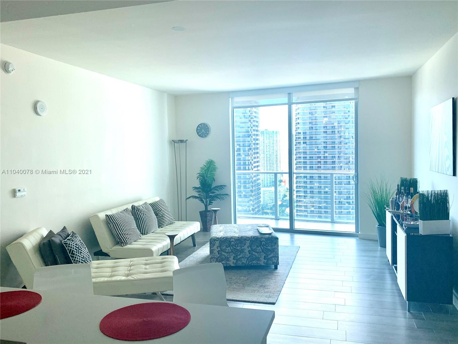 BEAUTIFUL, MODERN AND POSSIBLY TURNKEY FURNISHED 1 BEDROOM AND 1 BATH AT MILLECENTO. THIS UNIT ORIGINALLY CAME WITH A PREMIUM PACKAGE INCLUDING UPGRADES FROM THE DEVELOPER! (STUNNING TILES EVERYWHERE, A WALK-IN CLOSET AND WINDOWS SHADES).  IT IS THE HIGHEST 09 LINE UNIT CURRENTLY AVAILABLE ON THE MARKET.  ITS LARGE BALCONY OVERLOOKS BRICKELL'S CENTER OF ACTION INCLUDING THE ENTIRE MARY BRICKELL VILLAGE AND HAS SUPERB CITY VIEWS YOU DO NOT WANT TO MISS. The building is located in the heart of Brickell, steps from all restaurants, shops and entertainment venues of Mary Brickell Village and Brickell City Center. Steps away from the metro rail and 2 metro mover stations. Great amenities that include a rooftop pool, another pool on the 9th, a 24 Hour gym, a theater, lounge, kids room etc.