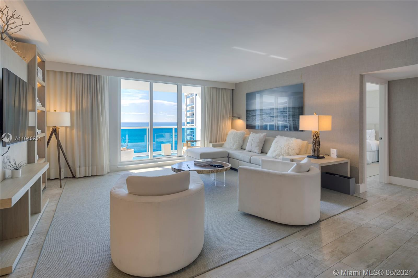 Enjoy direct ocean views from this 3 bedroom + den luxurious 1,817 Sq. Ft. condo. Comes with the custom hotel furniture package designed by acclaimed Brazilian decorator Debra Aguiar. Each room has smart TV's Guests have access to a variety of white glove services including a private fully staffed residence lobby, valet attendants, personal concierge, chauffeured Tesla sedans, the hotels 5 star luxurious and chic eco-conscious amenities. Rental includes linens and towels, toiletries, dishes, pots and pans, daily coffee and tea, full use of all hotel amenities to include 4 pools 4 restaurants, 3 bars, 14,000 Sq. Ft. spa and hair salon, Soul Cycle, chauffeured Teslas, and much more. Available for daily, weekly, monthly and yearly rentals through Five Star Luxury Travel.